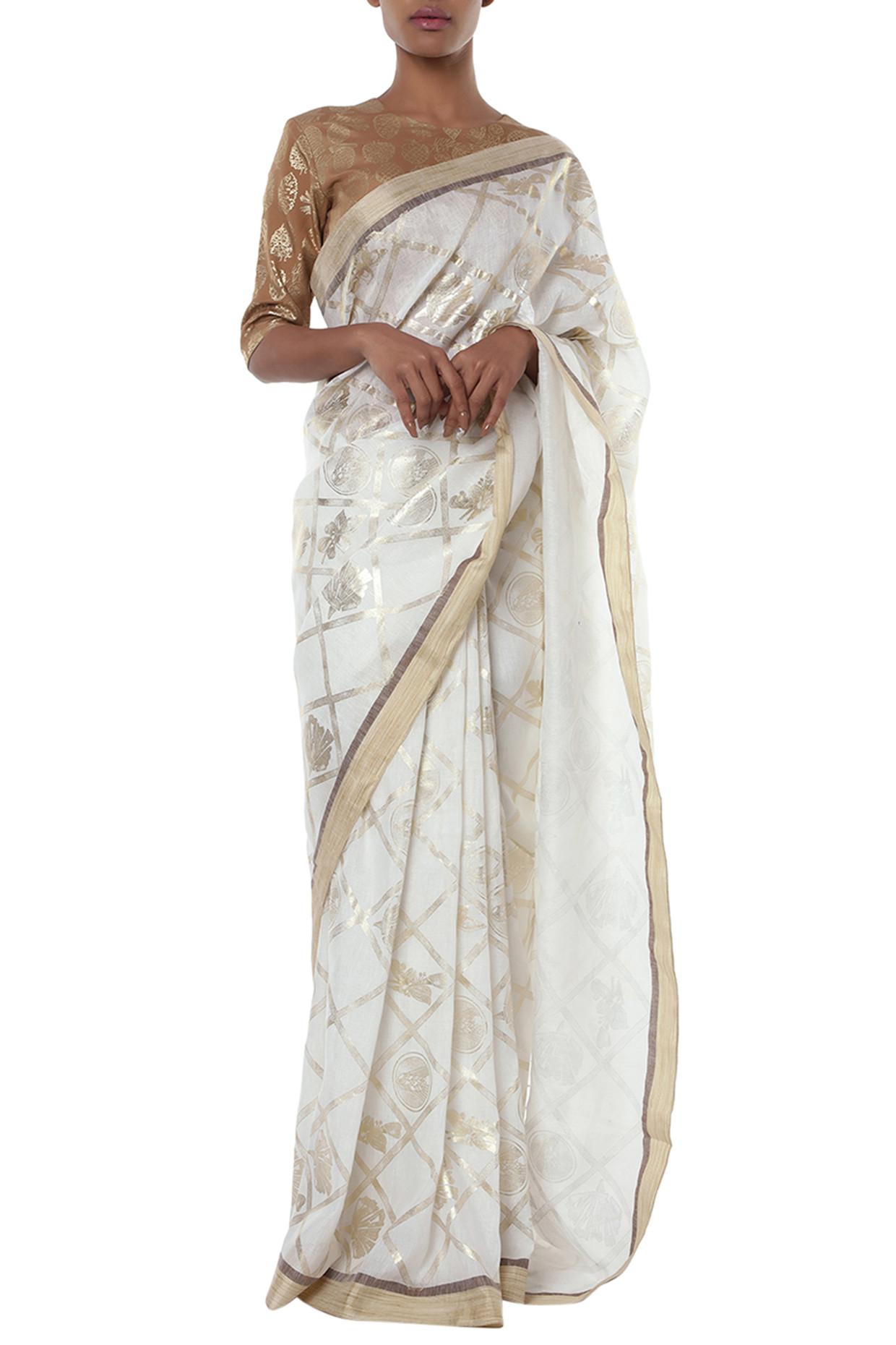 Ivory printed banarasi saree with blouse piece by Masaba