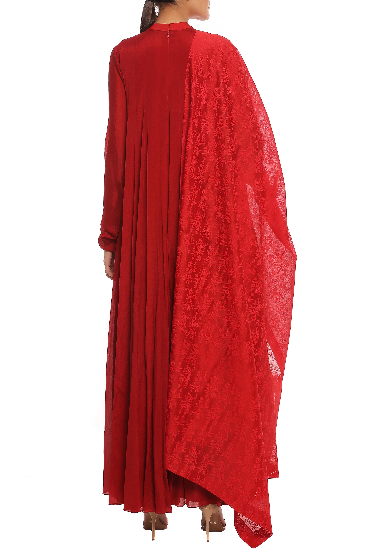 Scarlet Red Embroidered Anarkali Set by Masaba