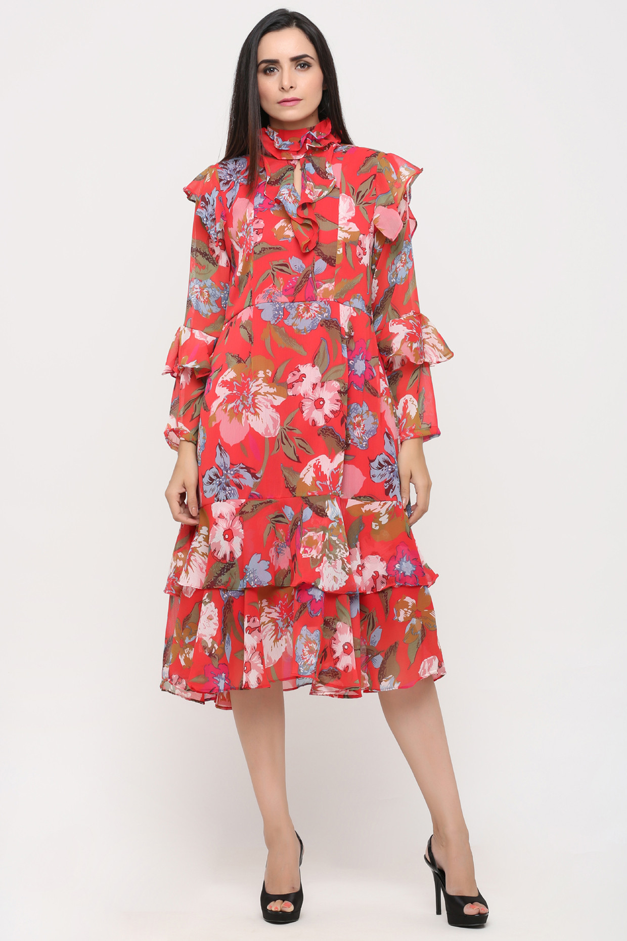 Multicolored Floral Printed Dress by Pooja Verma