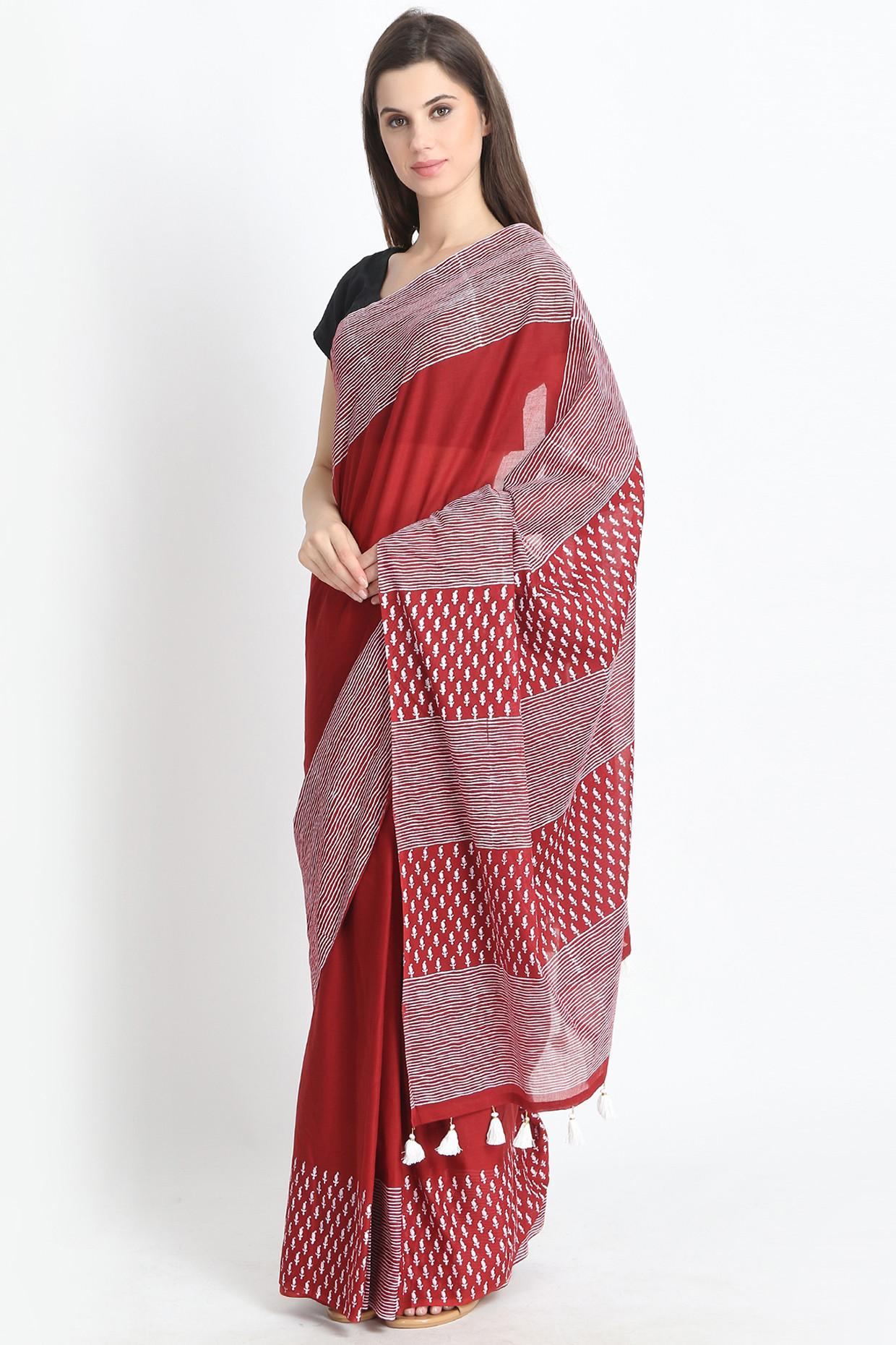 Comfortable Maroon Hand Block Printed Cotton mulmul Saree by Palash