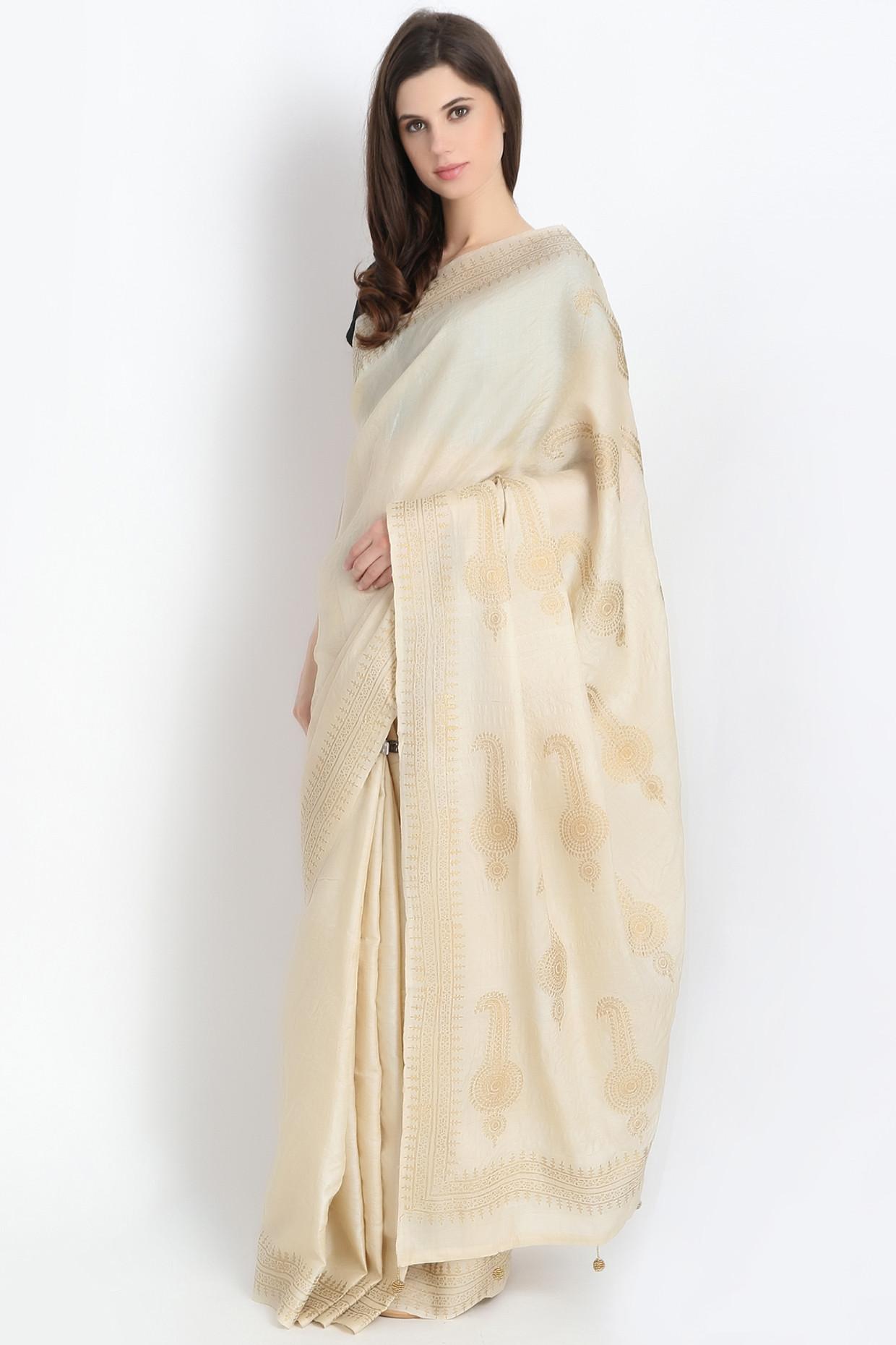 Hand Block Printed Tussar Silk Saree In Beige by Palash