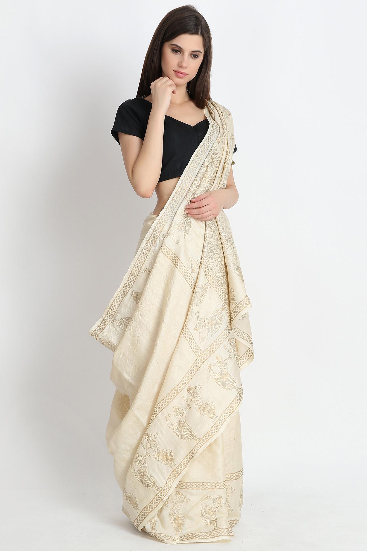 Beige Hand Block Printed Tussar Silk Saree by Palash