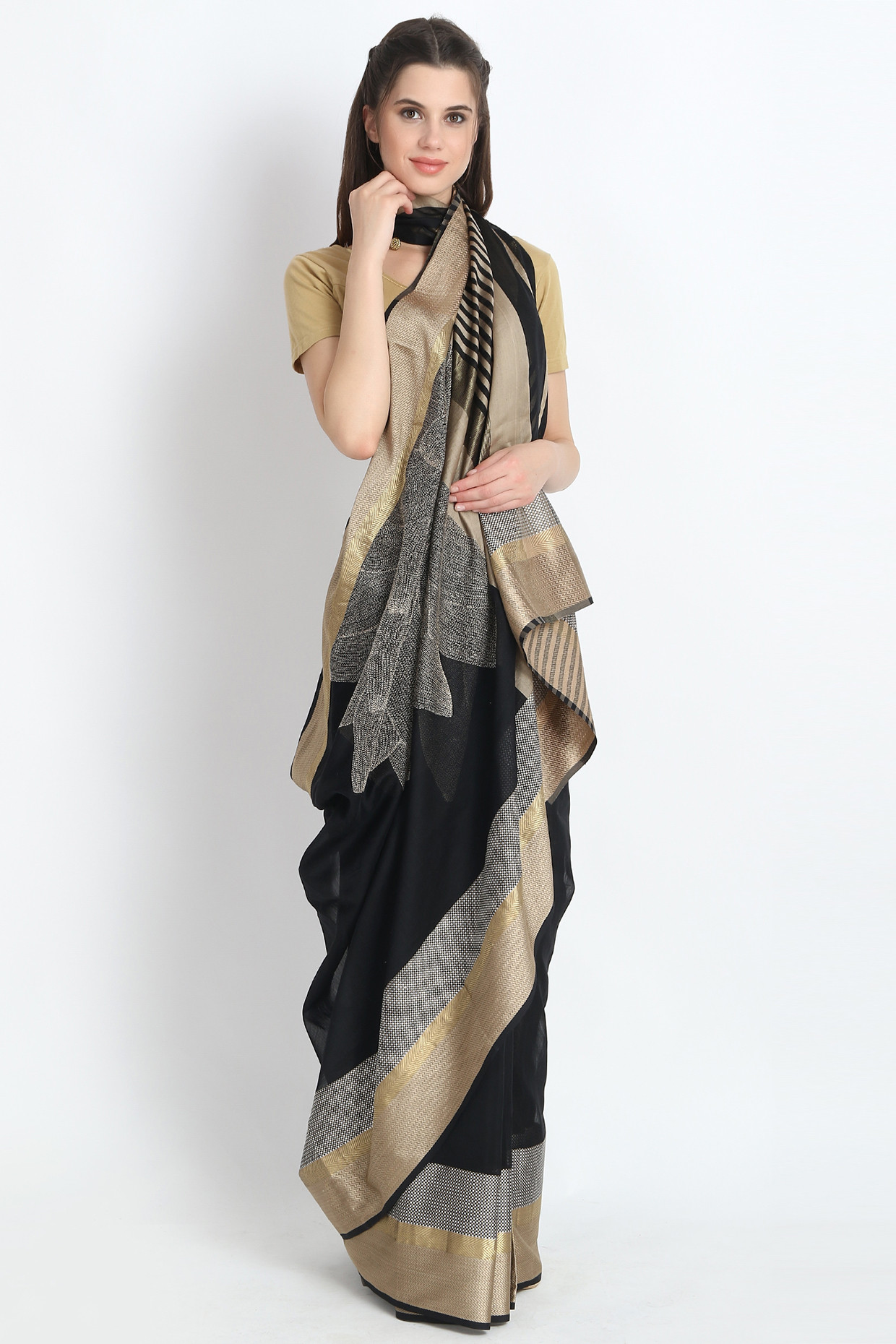 Beautiful Handloom Maheshwari Silk Saree With Hand Embroidery In Black  by Palash