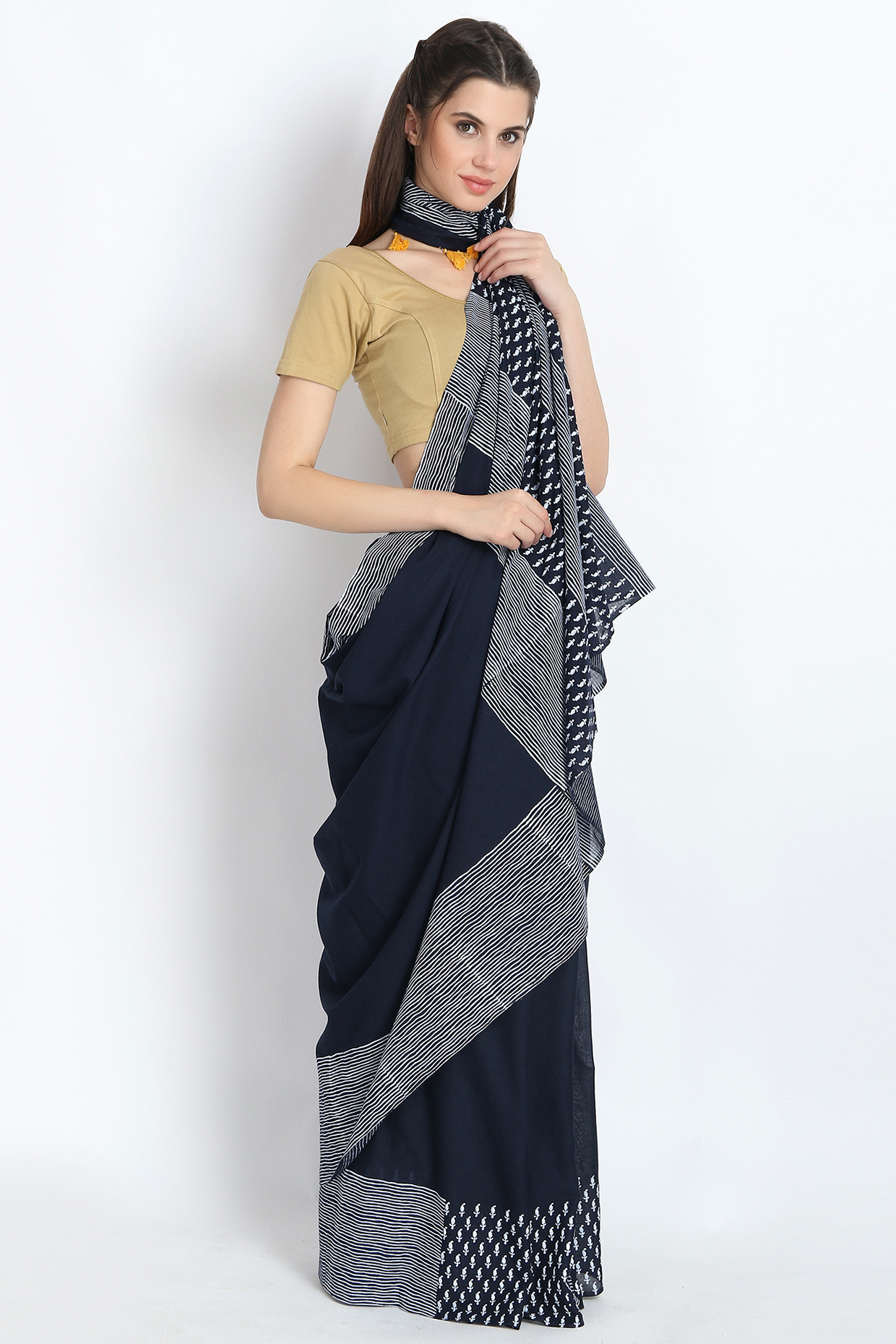 Hand Block Printed Cotton Mulmul Saree In Midnight Blue by Palash