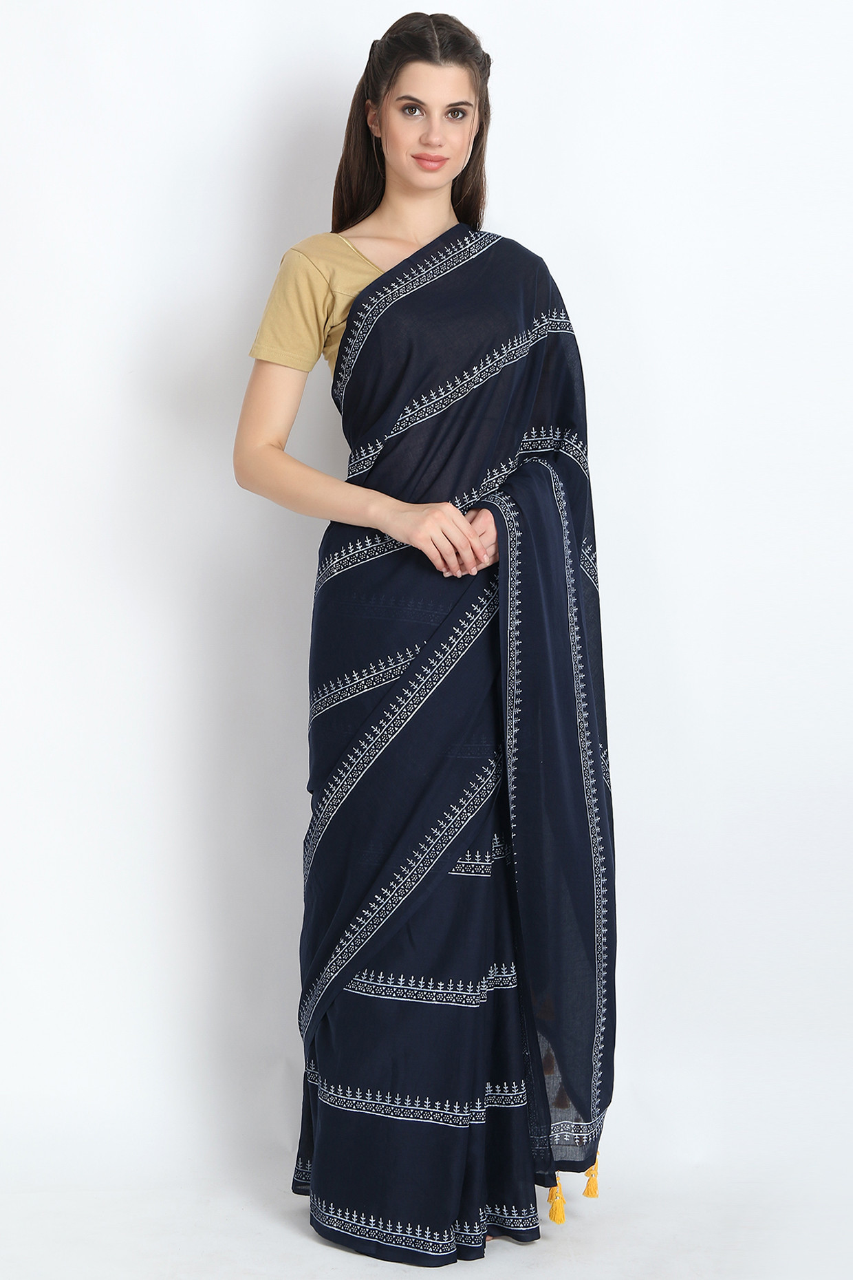 Fabulous Hand Block Printed Cotton Mulmul Saree In Midnight Blue by Palash