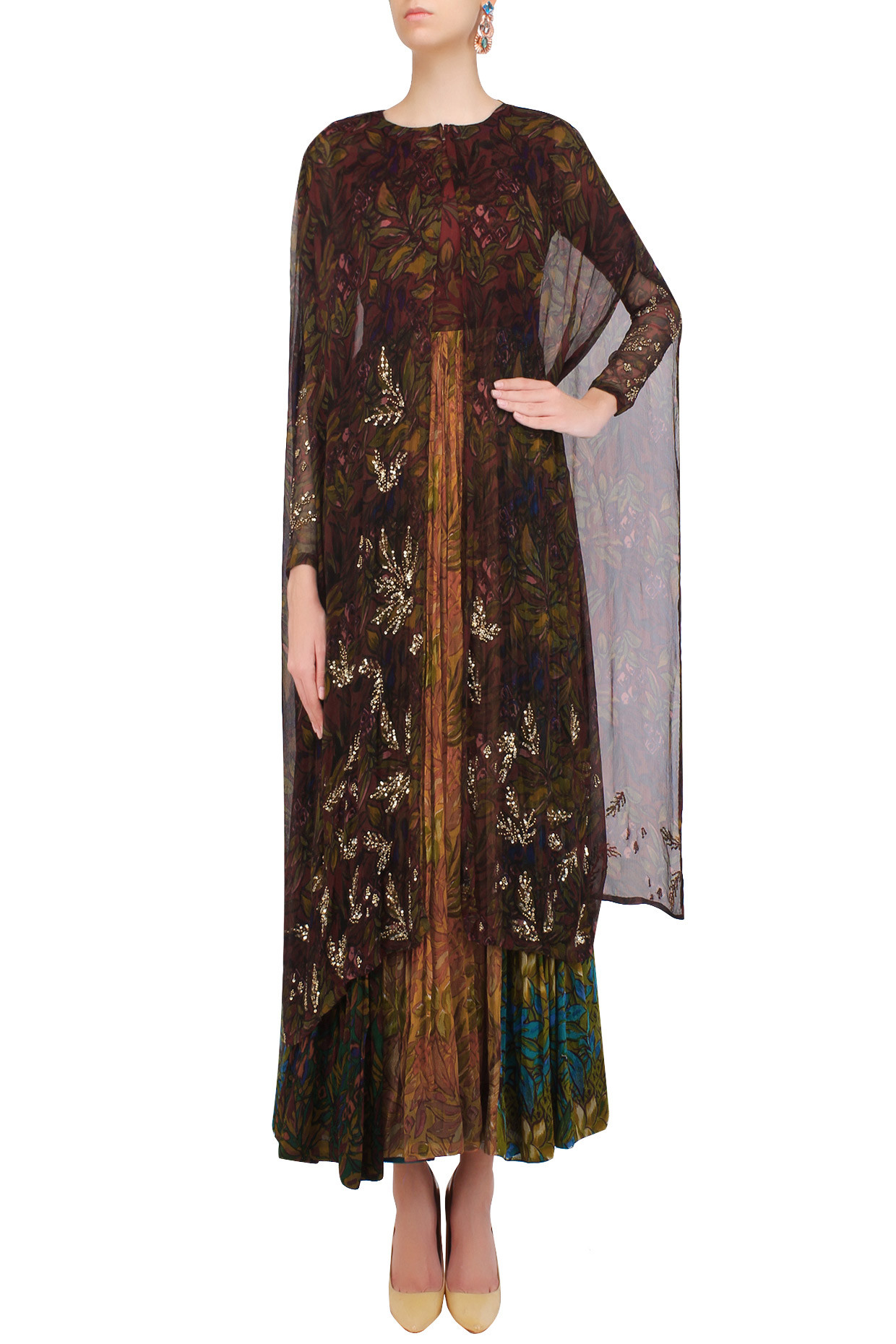 Maroon Rapid Print Dress With Sequinned Cape and Leggings by Pallavi Jaipur