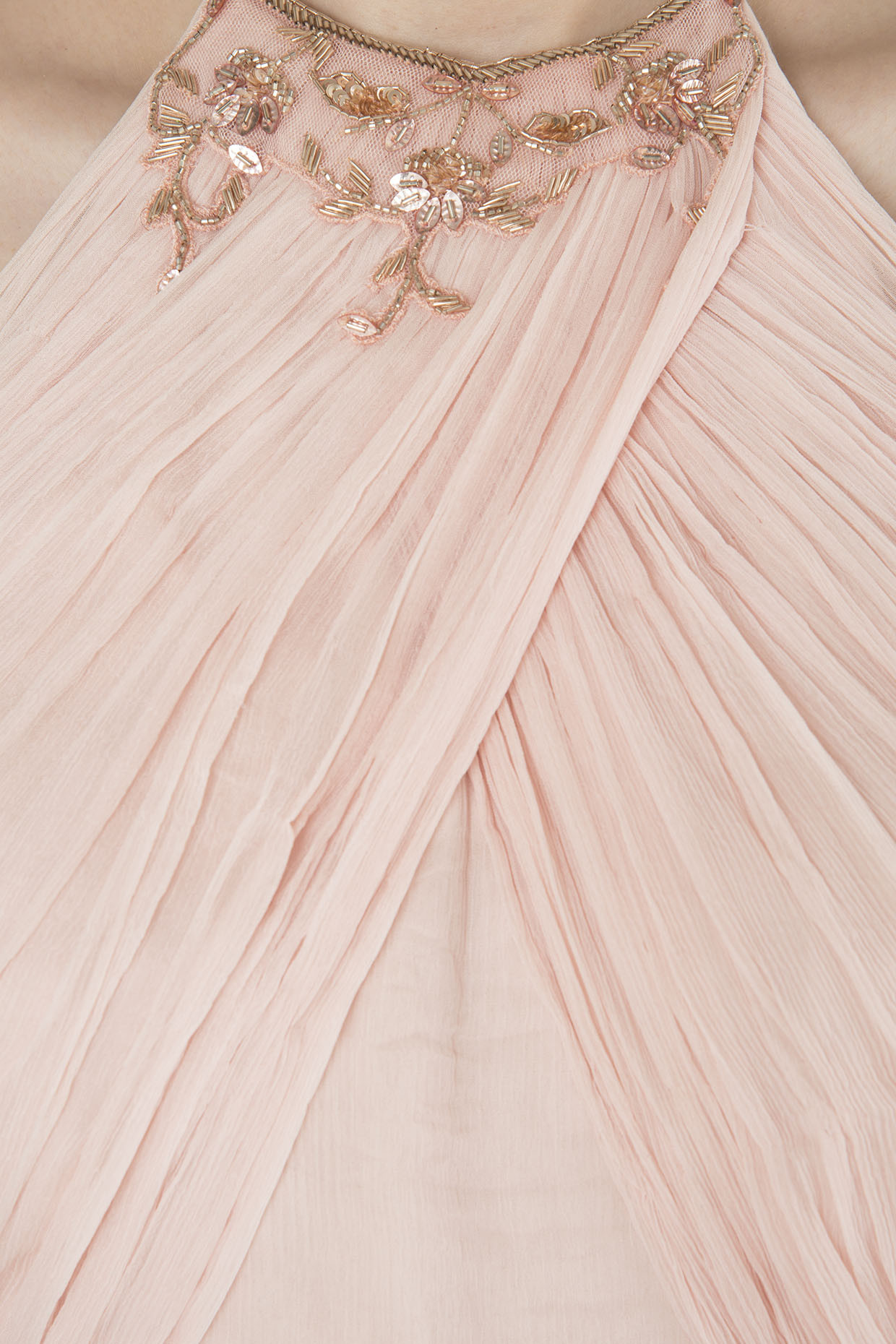 Nude Pink Embroidered Drape Jumpsuit by Pink Peacock Couture
