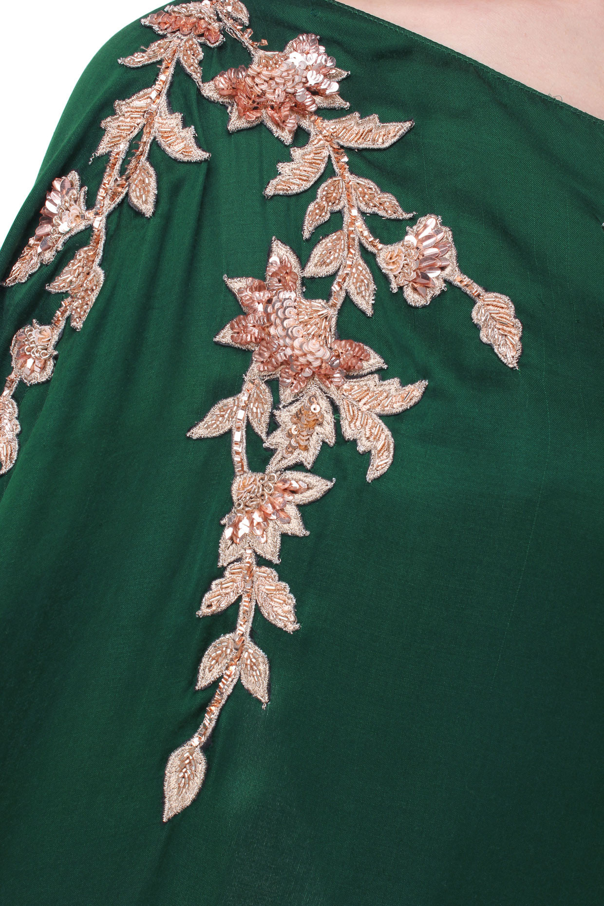 Green Embroidered Drape Gown by Pink Peacock Couture