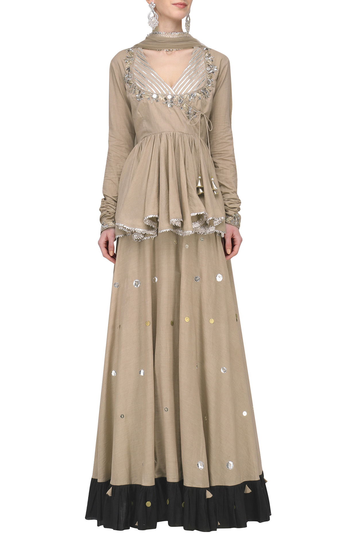 Beige Metal Sequins Embroidered Lehenga Set by Priyanka Singh