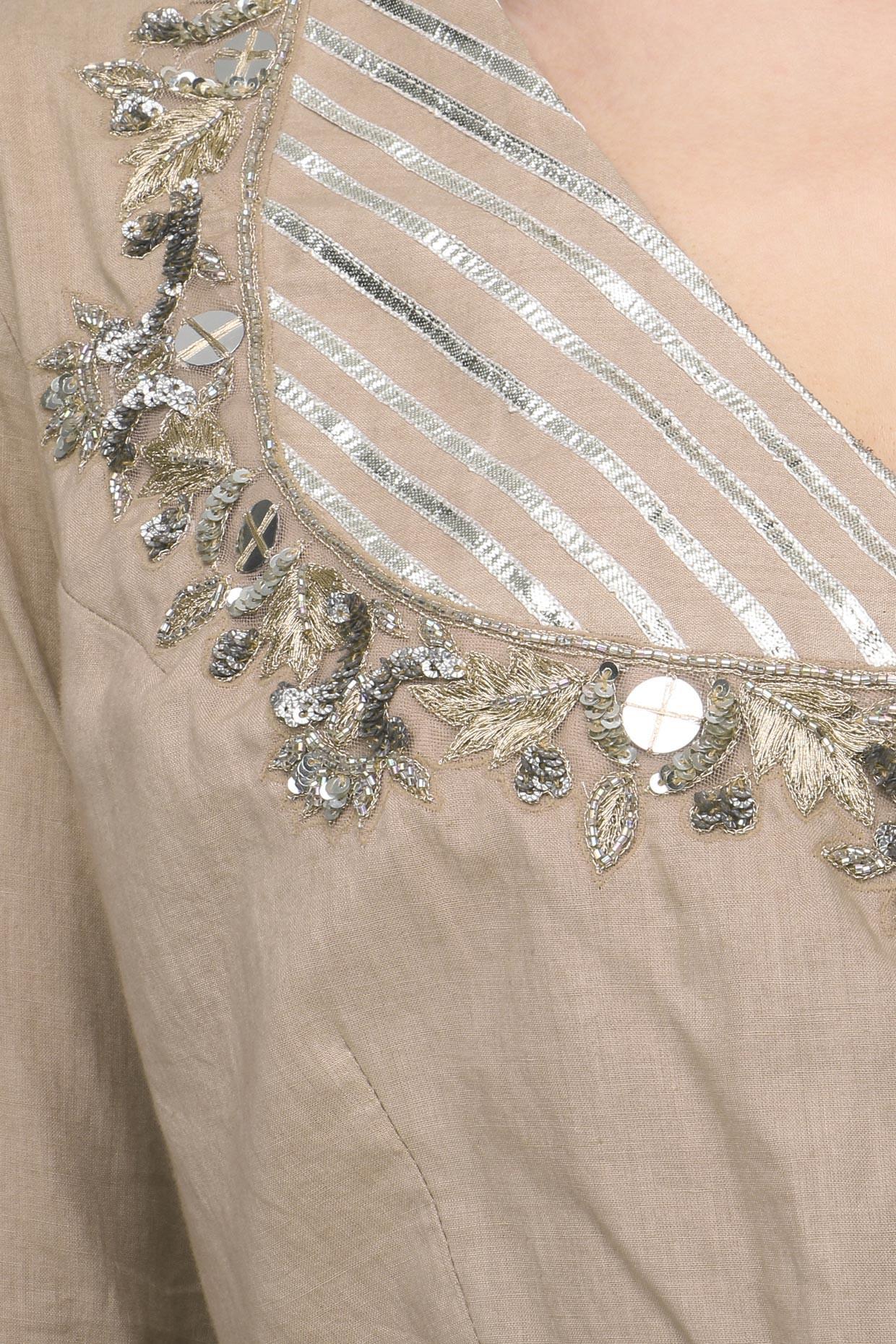 Beige Metal Sequins Embroidered Lehenga Set by Priyanka Singh