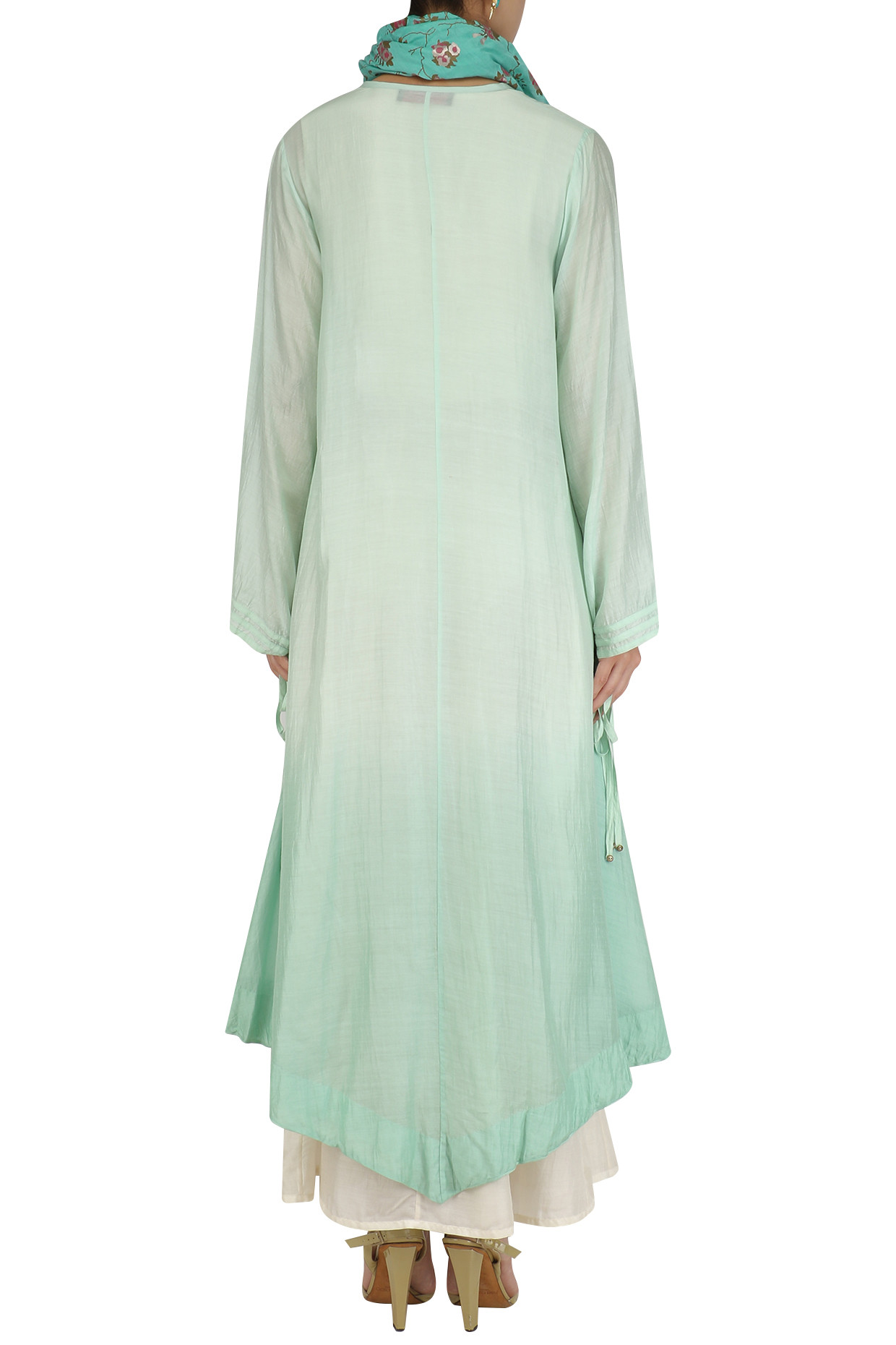 Mint Green Ombre Asymmetrical Tunic with Tassel Hanging Scarf by Pinnacle by Shruti Sancheti