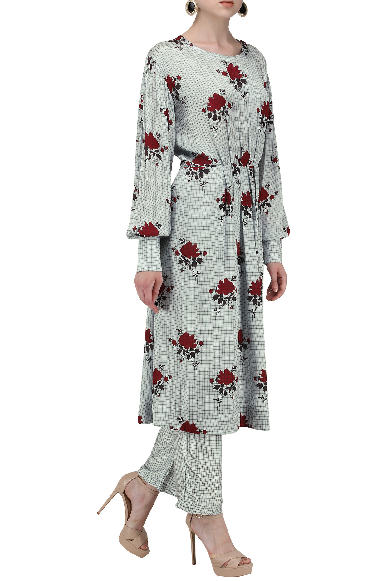 Jade Blue Rose Embroidered Kurta with Pants by Pinnacle by Shruti Sancheti
