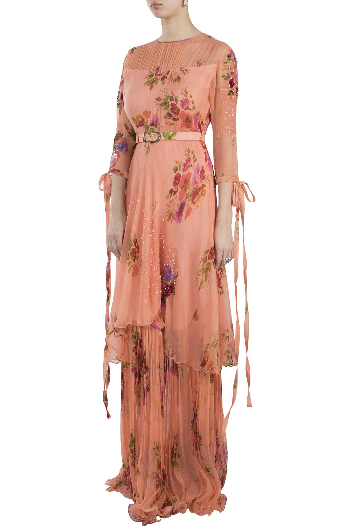 Peach Printed Layered Maxi Dress With Belt by Pallavi Jaipur