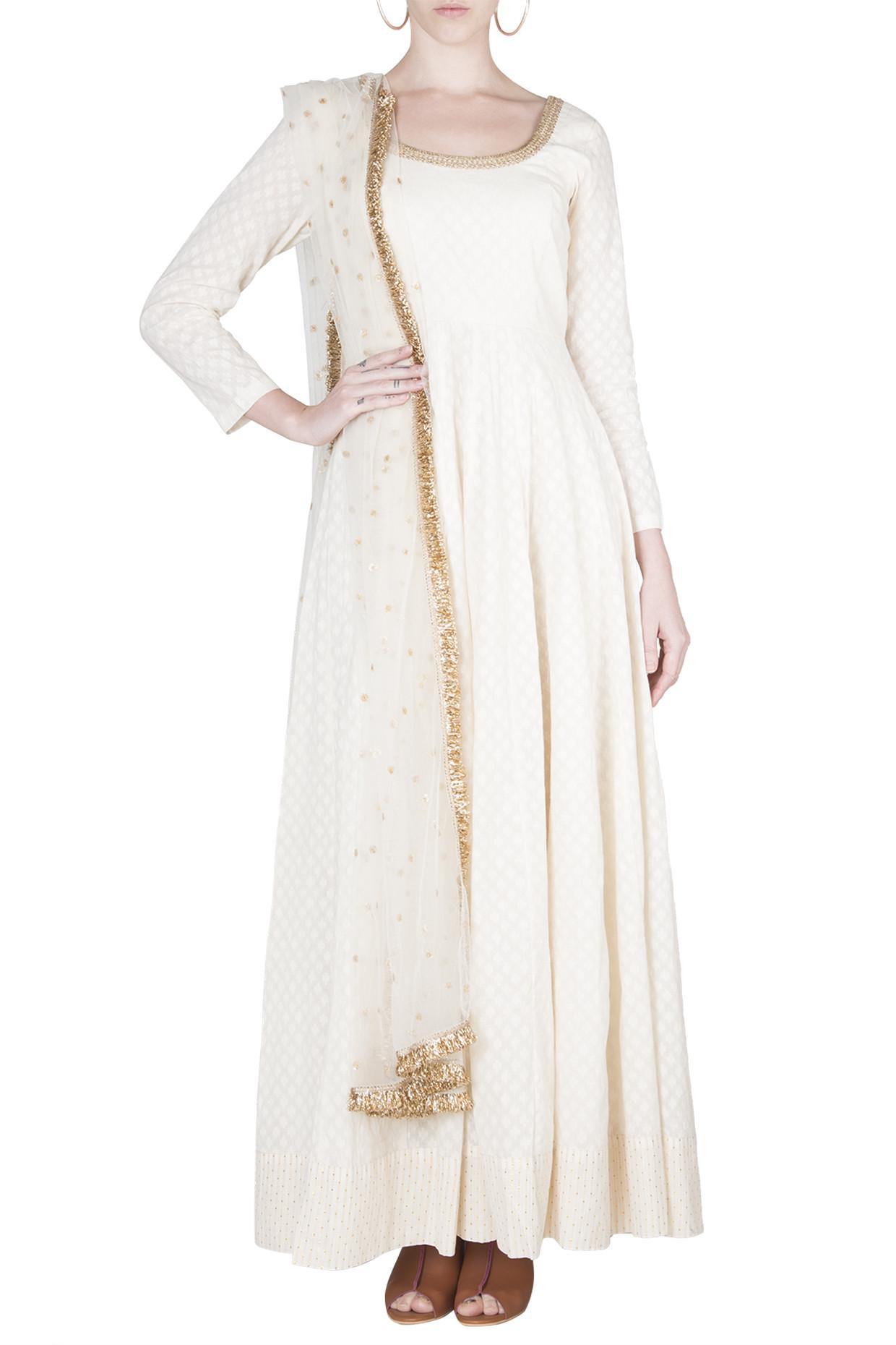 Ivory Cotton Anarkali Set by Rishi & Vibhuti