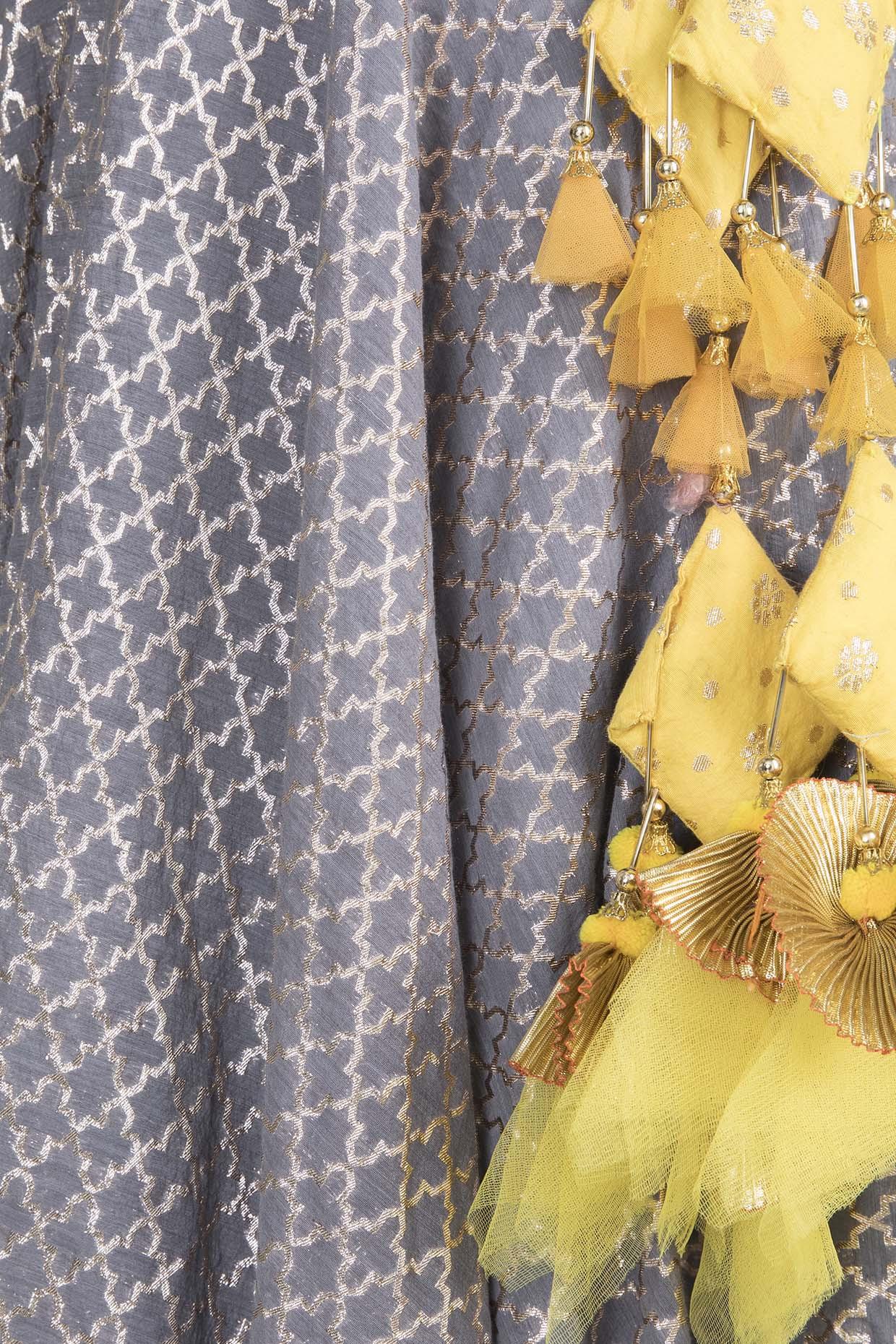 Grey & Yellow Chanderi Lehenga Set by Rishi & Vibhuti