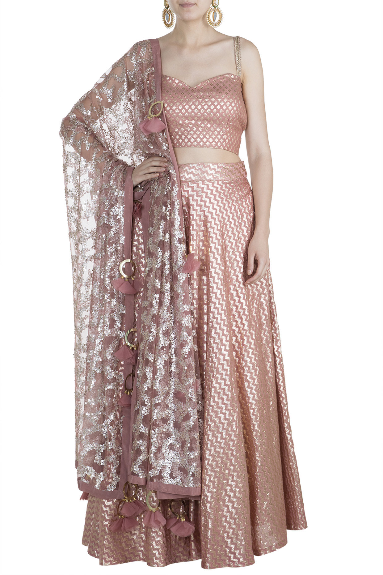 Caramel Embroidered Lehenga Set by Rishi & Vibhuti