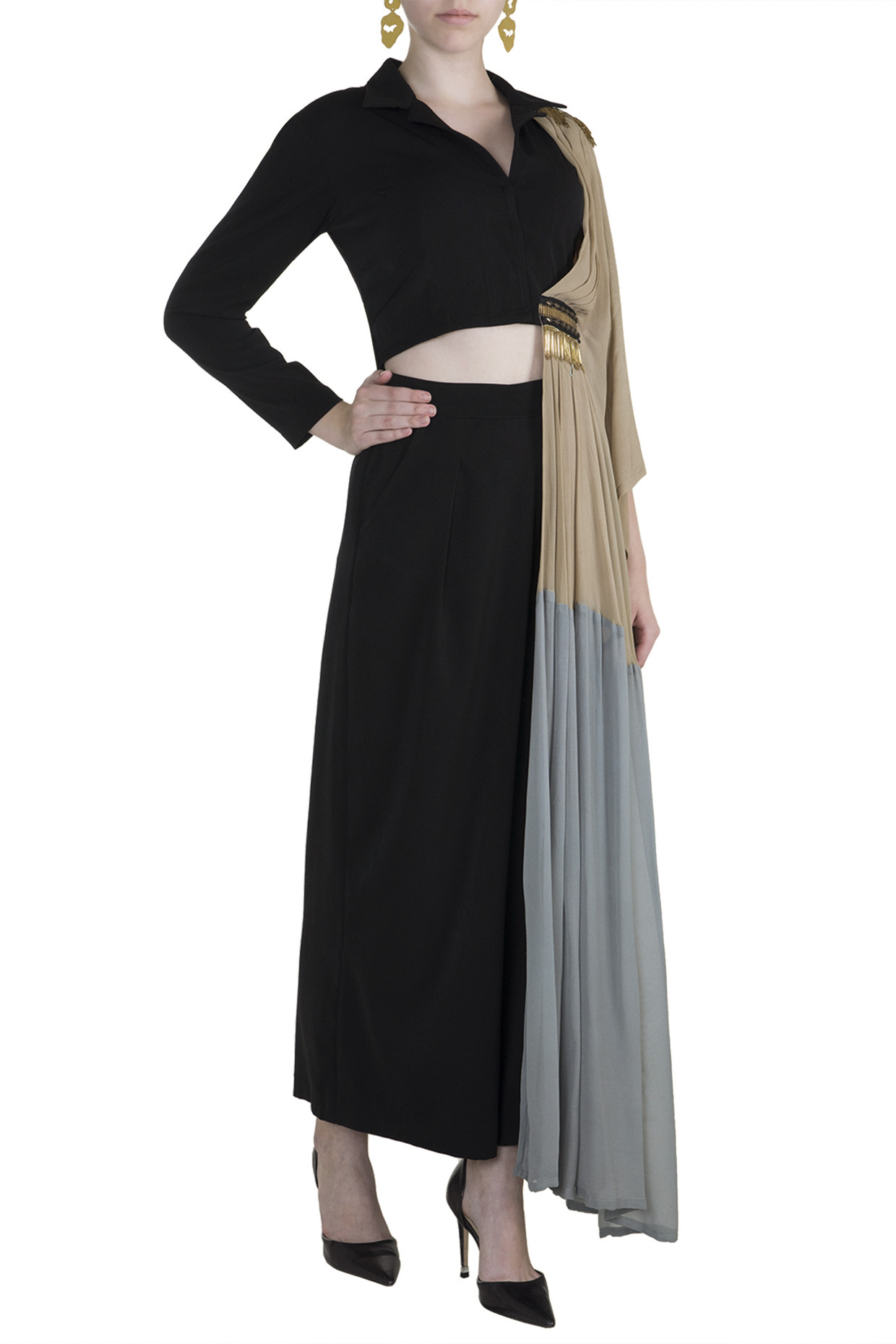 Black Top With Attached Palla & Pants by Rishi & Vibhuti