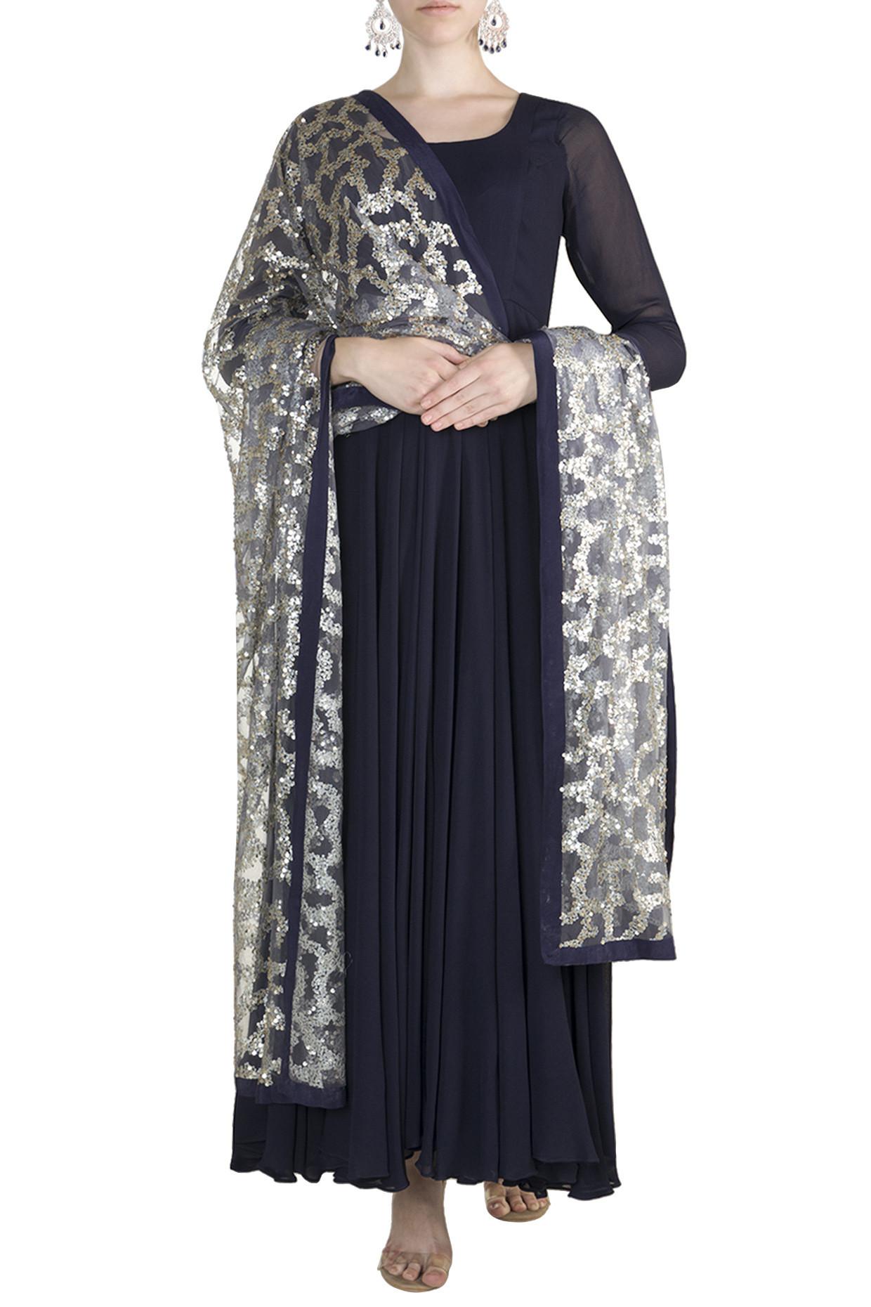 Midnight Blue Anarkali With Embellished Dupatta by Rishi & Vibhuti