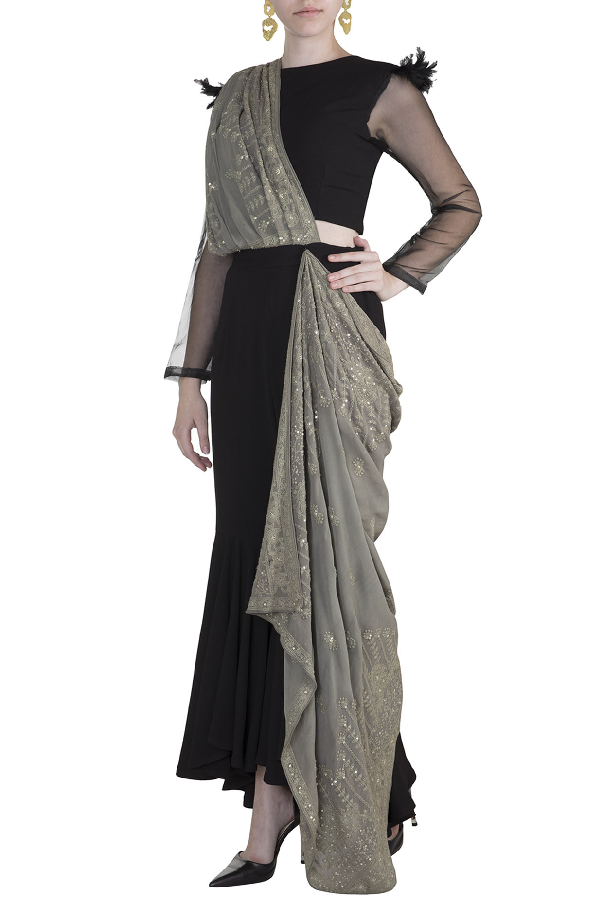 Black Crop Top With Pants & Pre-Stitched Drape by Rishi & Vibhuti