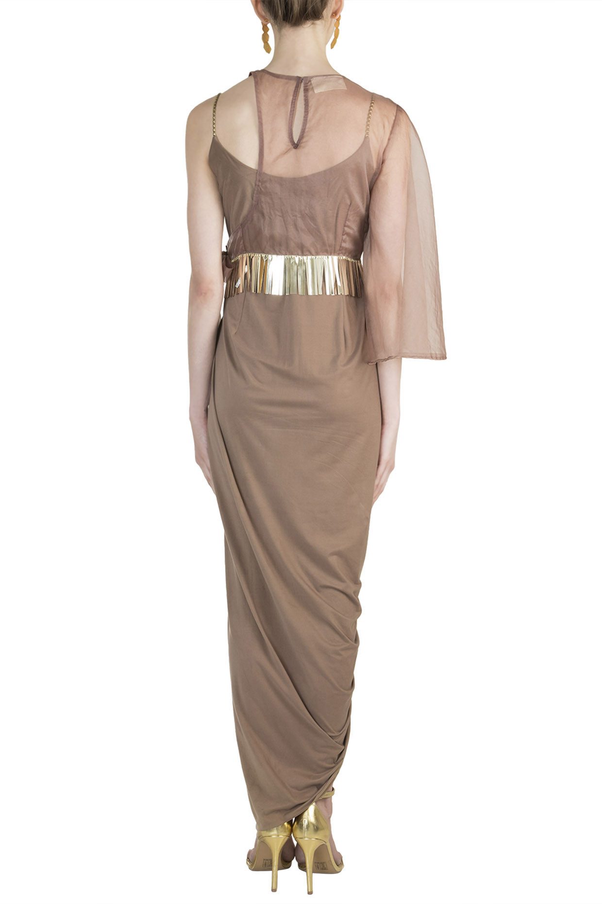 Copper Bodysuit Dress With Jacket by Rishi & Vibhuti