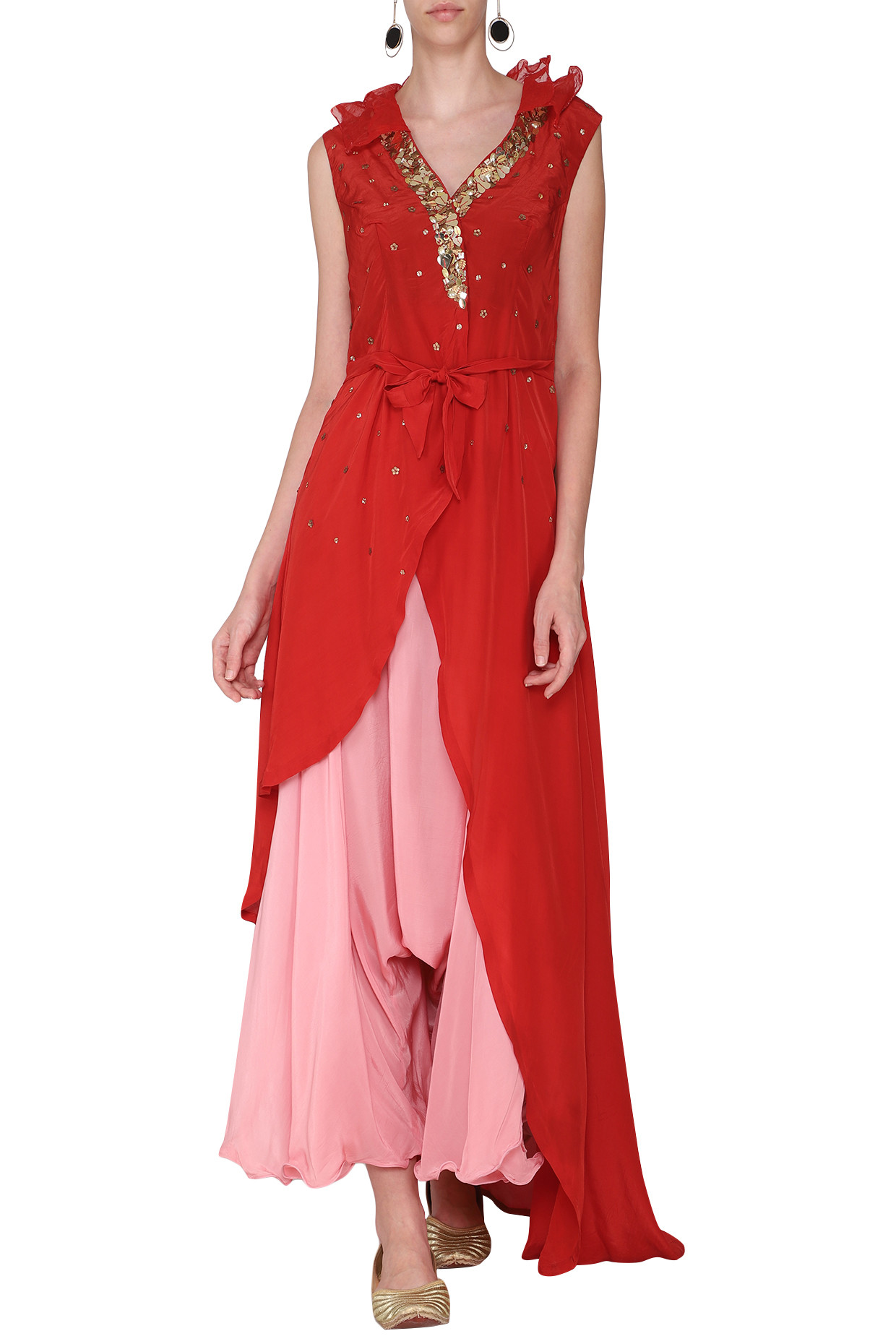 Red Embellished Tunic with Pink Drape Pants and Belt by Rishi & Vibhuti