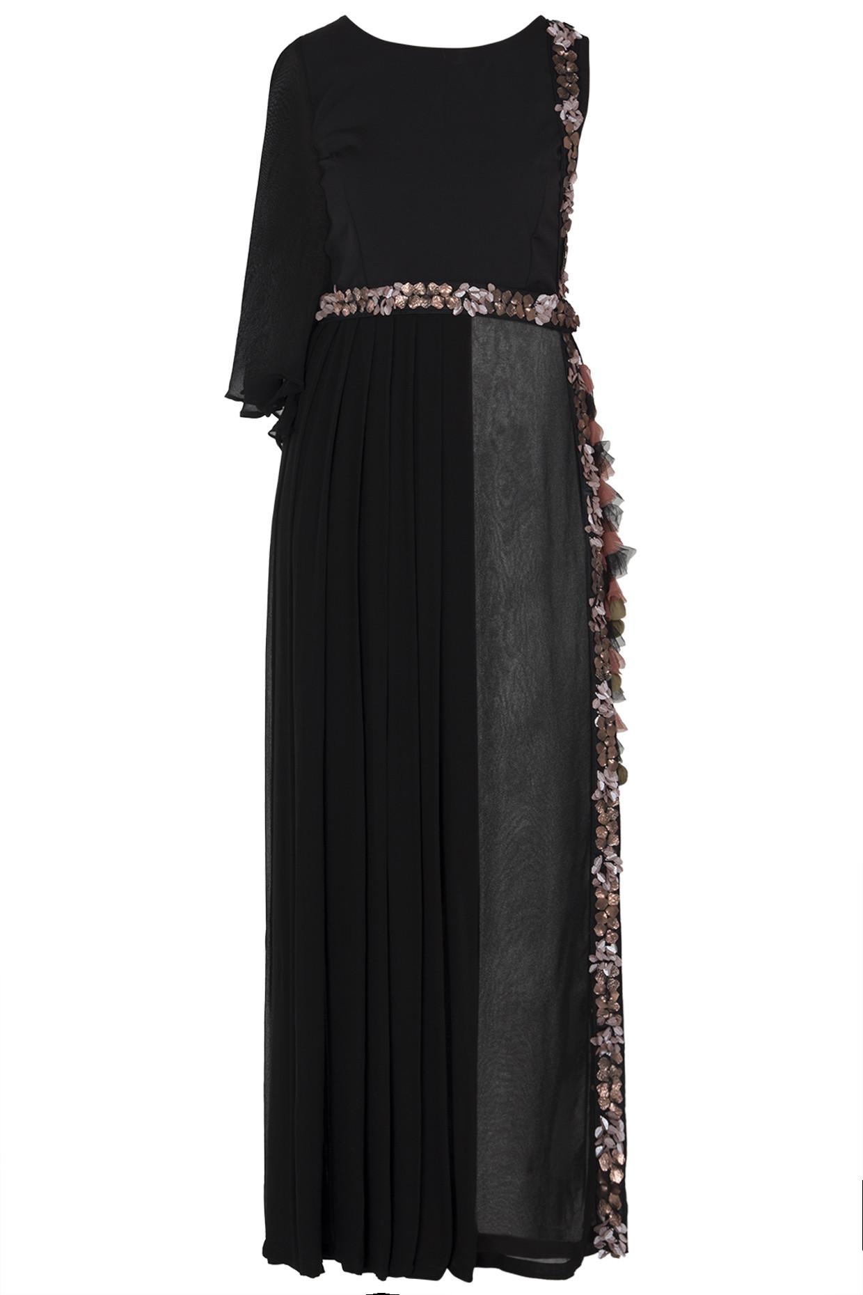Black One Side Long Dress by Rishi & Vibhuti