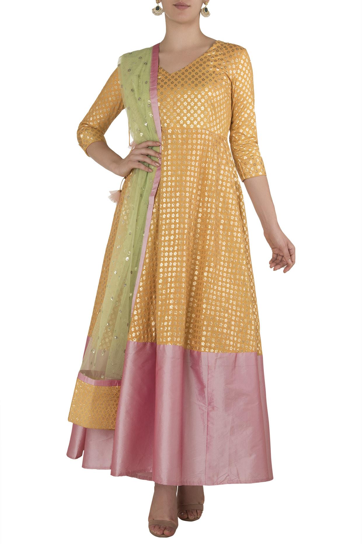 Yellow and Pink Anarkali by Rishi & Vibhuti