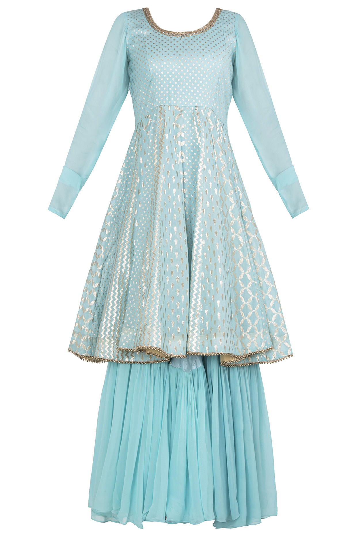 Blue Embellished Anarkali by Rishi & Vibhuti