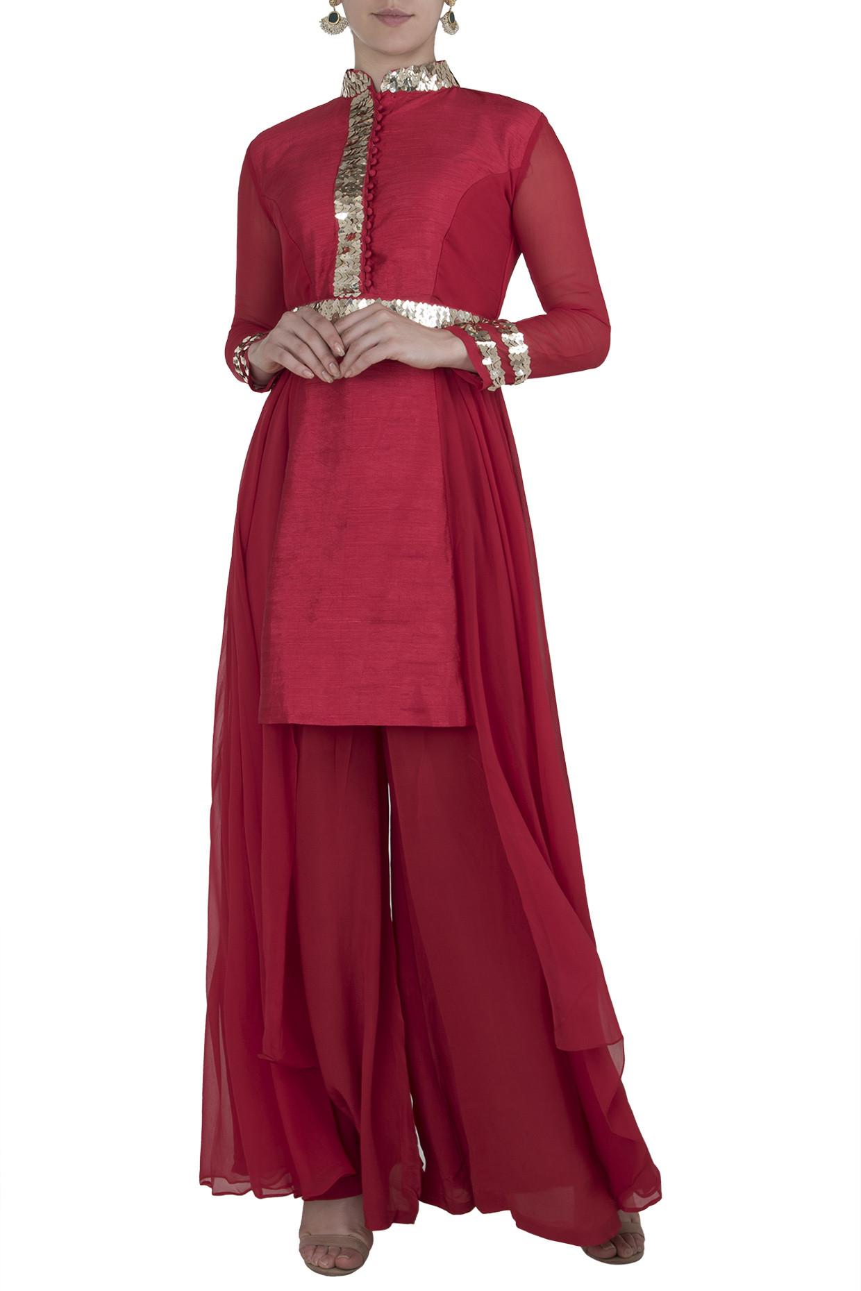 Red Boho Kurta with Flared Pants by Rishi & Vibhuti