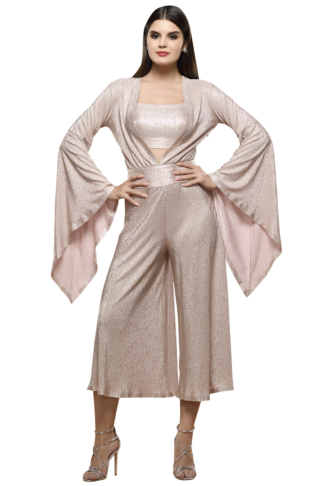 Pink Metallic Short Jumpsuit With Bustier by RS by Rippi Sethi
