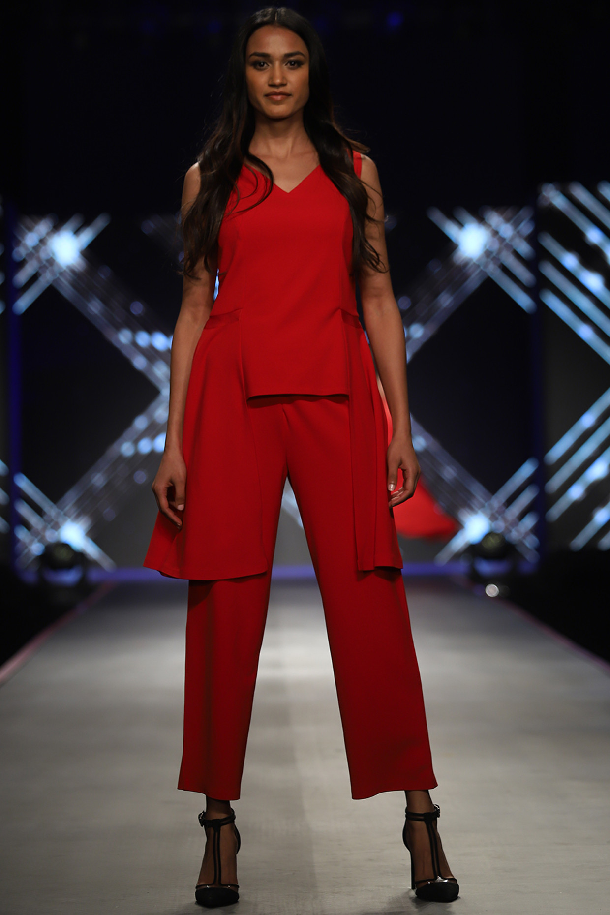 Red Side Draped Top With Pants by RS by Rippi Sethi