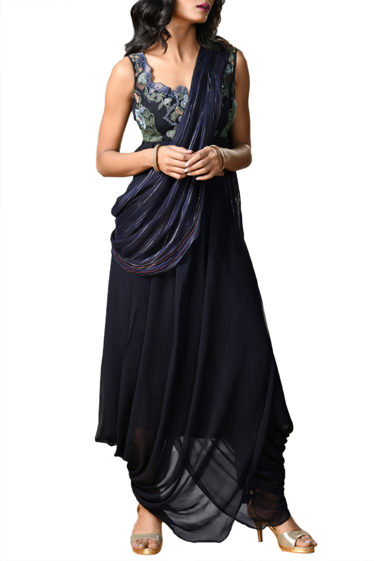 Navy Blue Embroidered & Printed Saree Set by RI Ritu Kumar