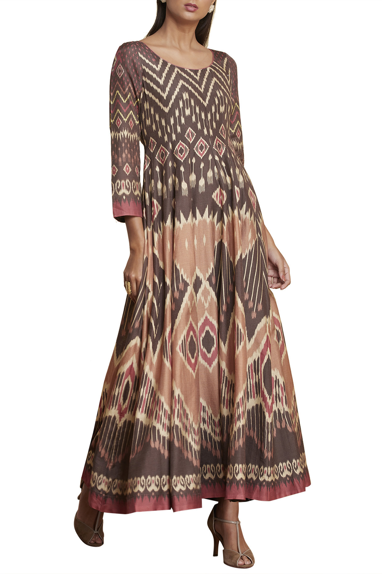 Brown Ikat Printed Anarkali Kurta by RI Ritu Kumar