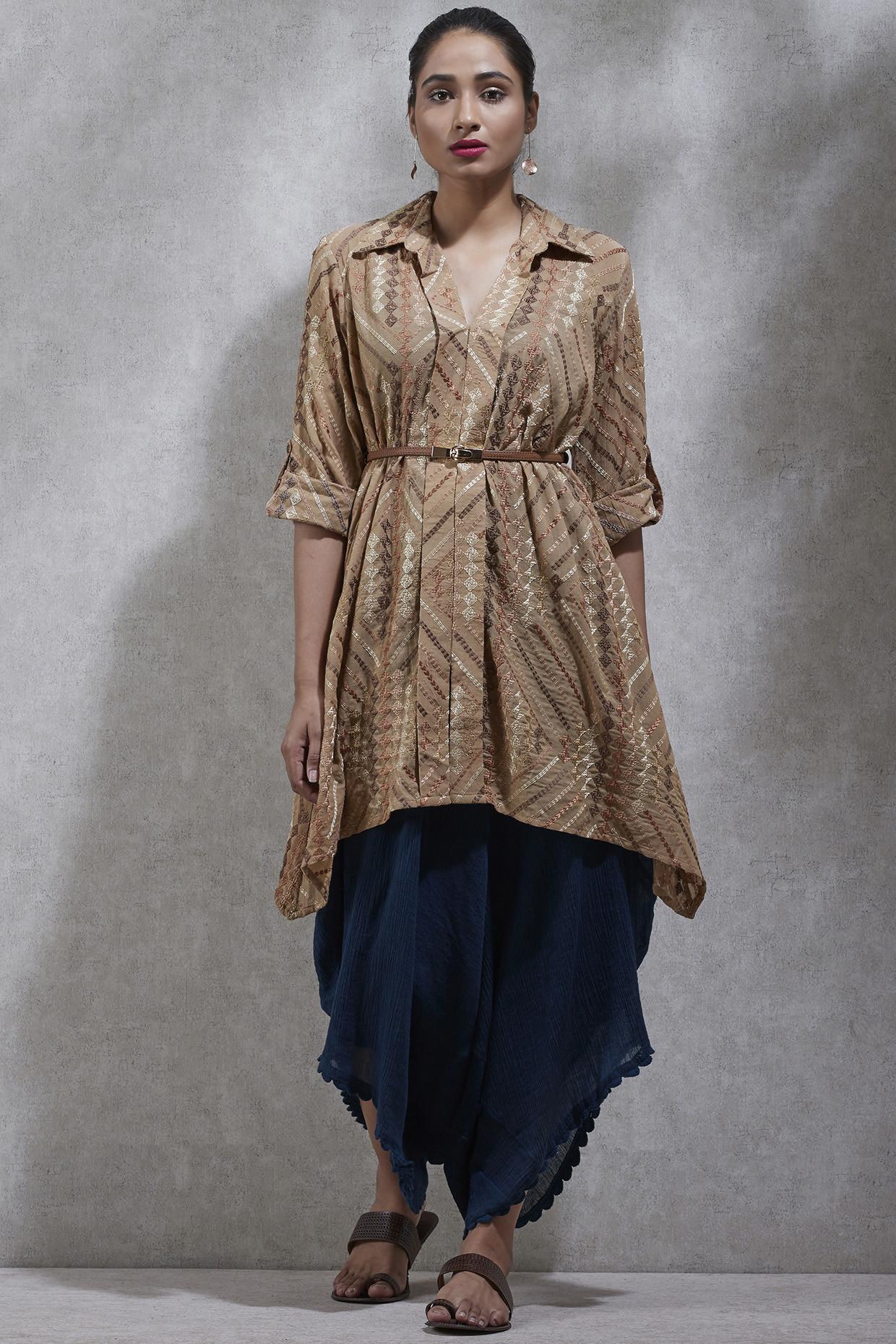 Beige Embroidered Shirt Kurta by Ritu Kumar