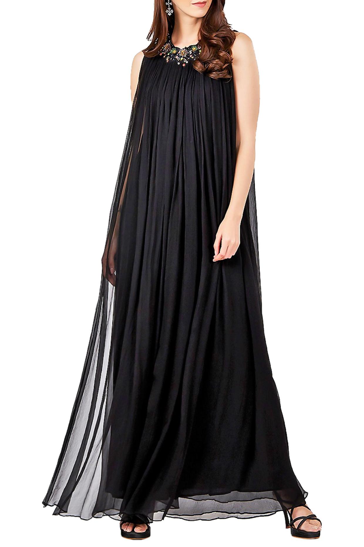 Black Embellished Long Kurta by Ritu Kumar