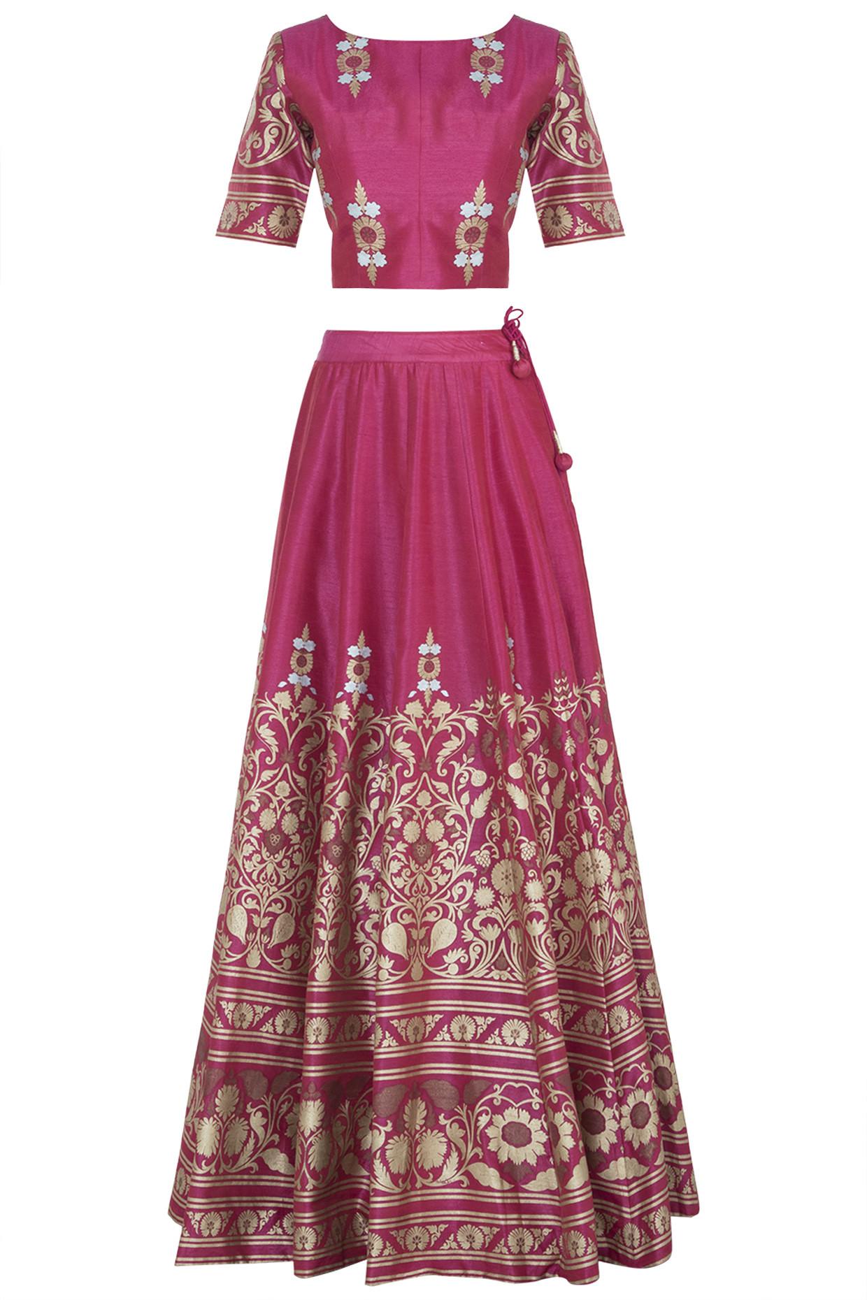 Pink Printed Lehenga Set by Surendri