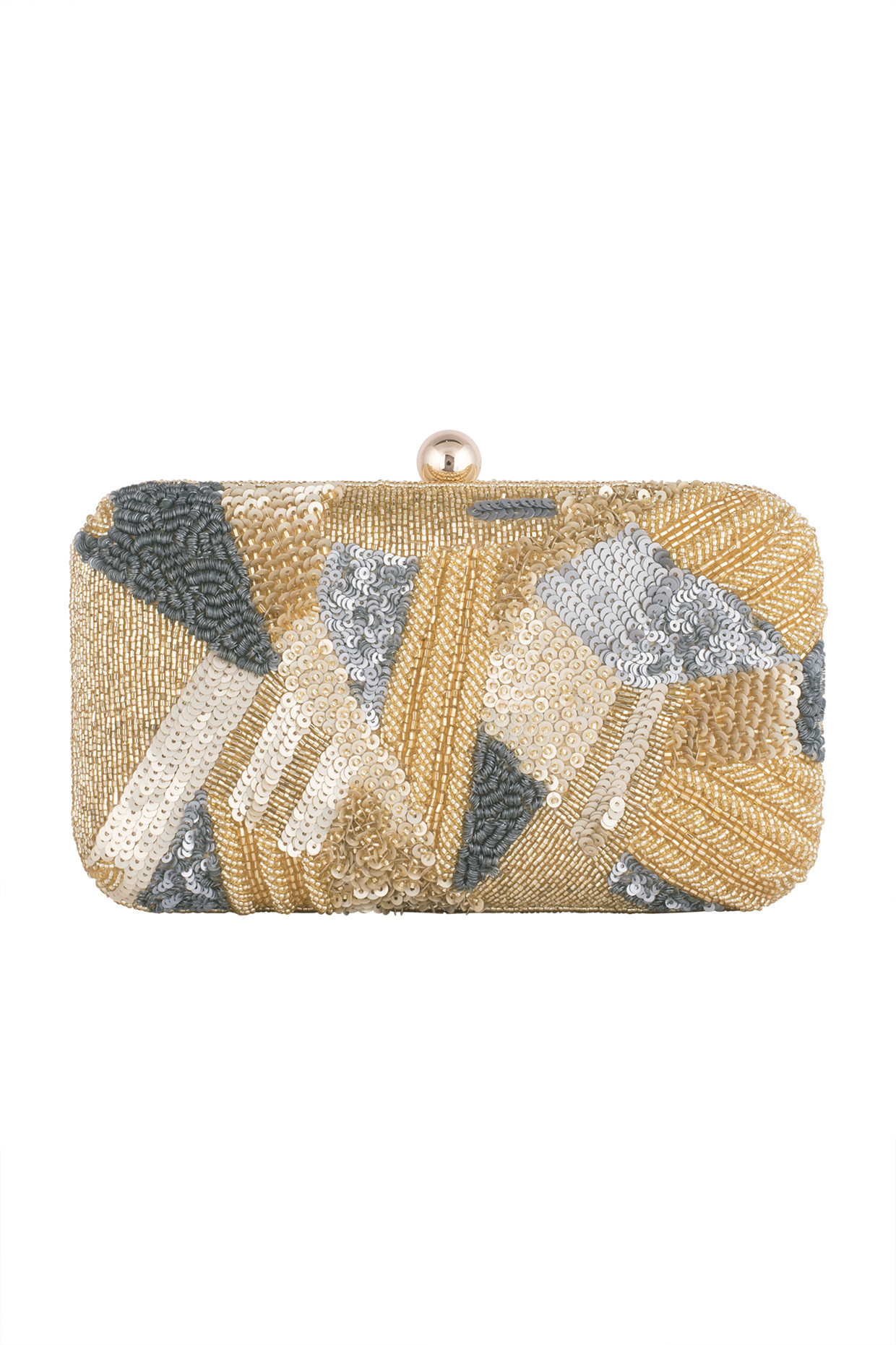 Gold Geometrical Embroidered Clutch by Sonnet-Handpicked for You