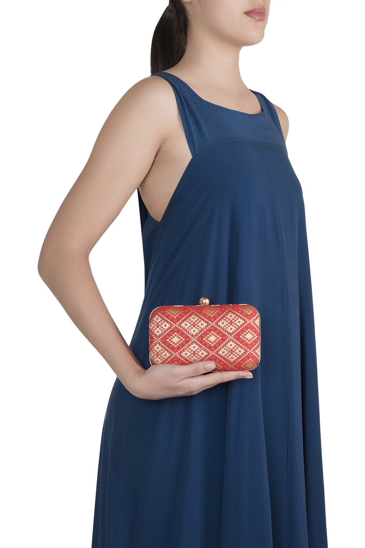 Red Brocade Clutch by Sonnet