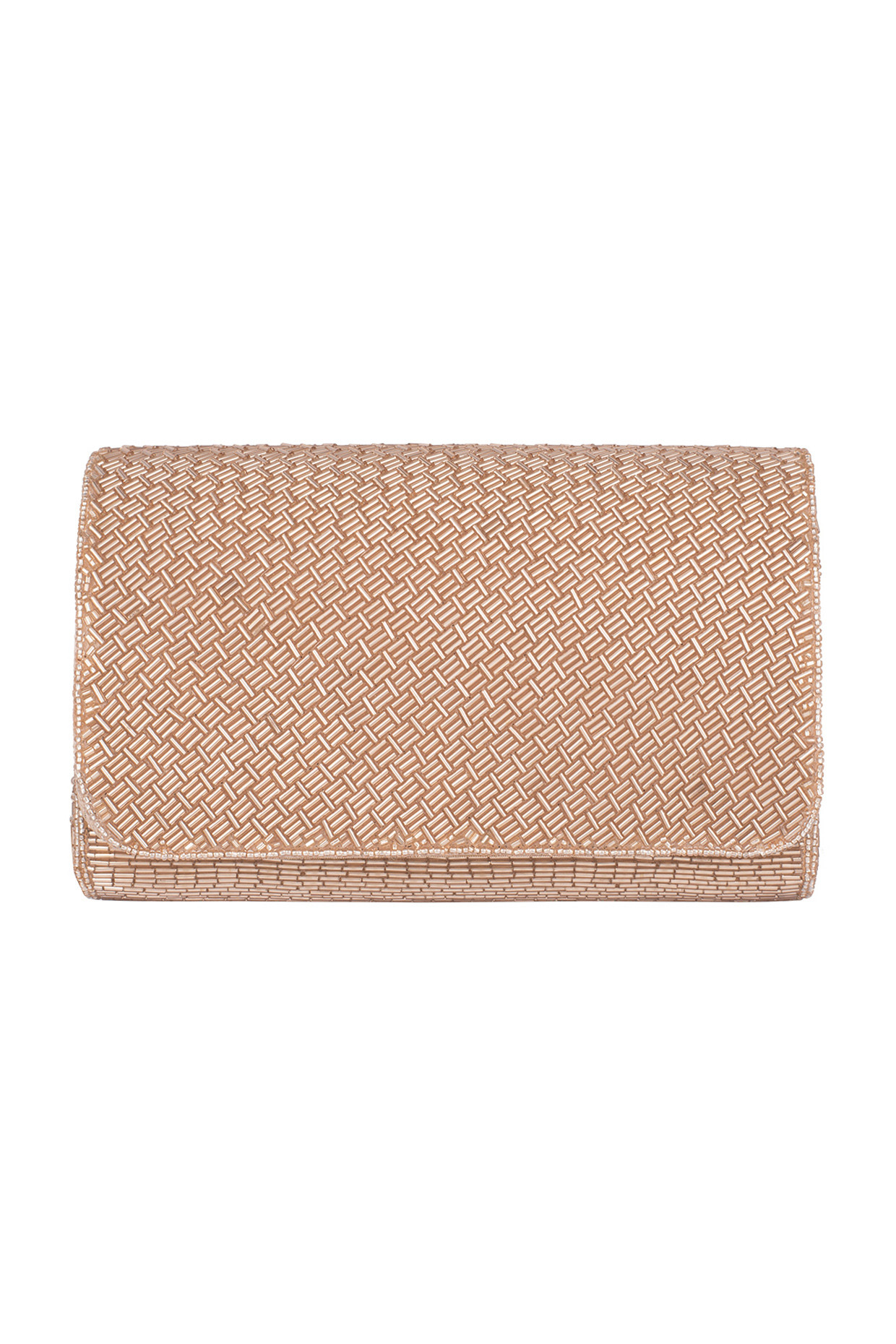 Nude Embroidered Box Clutch by Sonnet