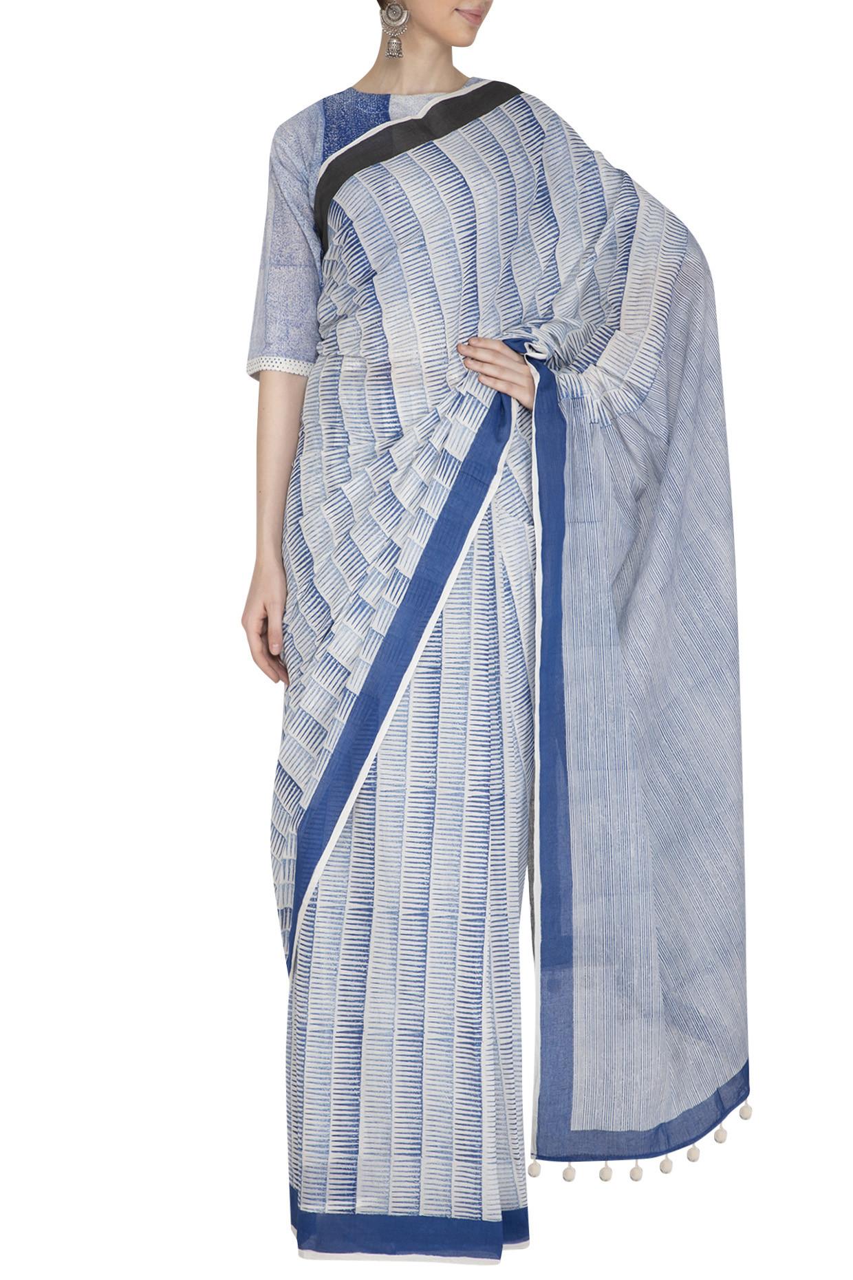 Hand Block Printed Stripe Indigo Saree In Cotton by Silk Waves