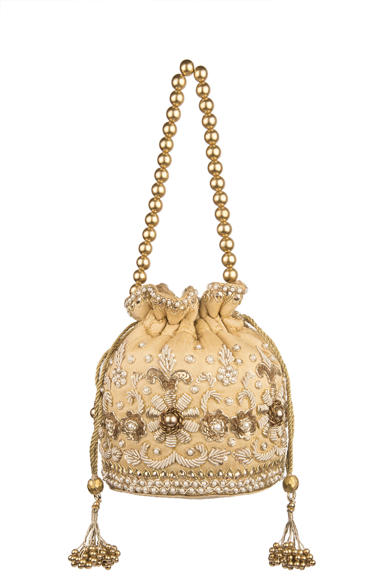 Gold Embroidered Raw Silk Potli by Sonnet