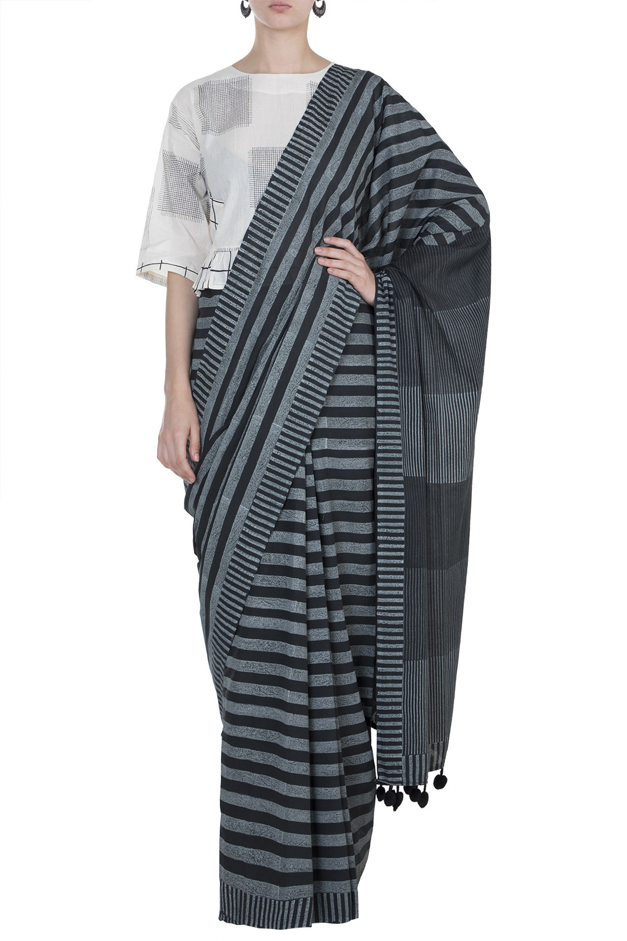 Comfortable Block Printed Cotton Saree In Black by Silk Waves