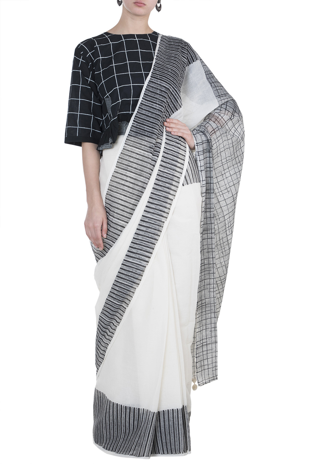 Ivory Block Printed Saree In Cotton by Silk Waves
