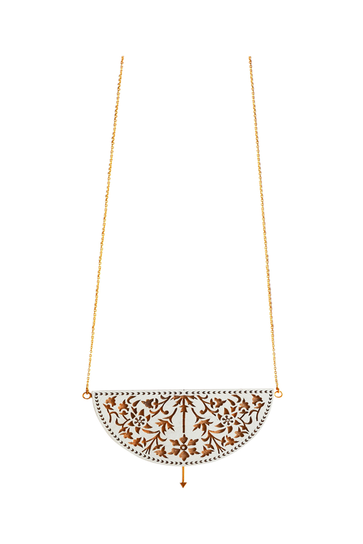 Handcrafted Gold Necklace With Floral Motives by Satat