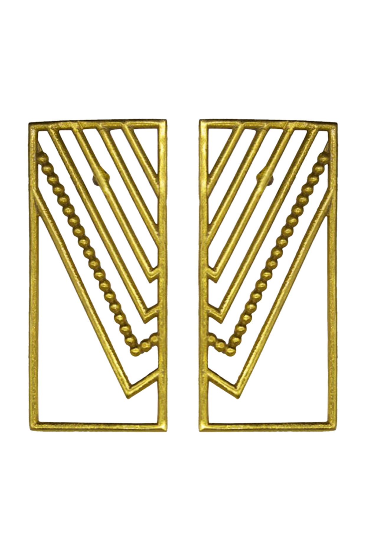 Handcrafted Rectangle Shaped Brass Earrings In Gold by Toorya