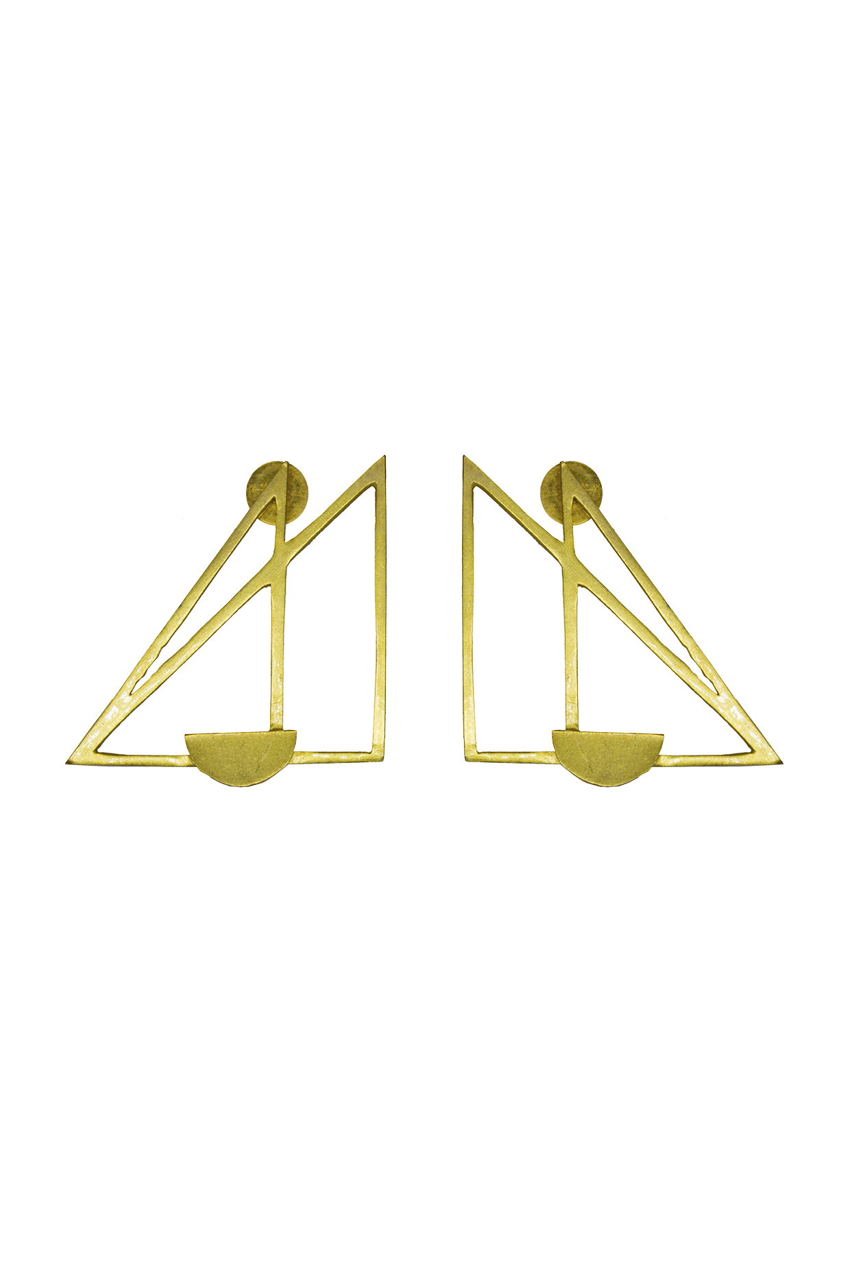 Handcrafted Double Triangular Brass Earrings In Gold  by Toorya