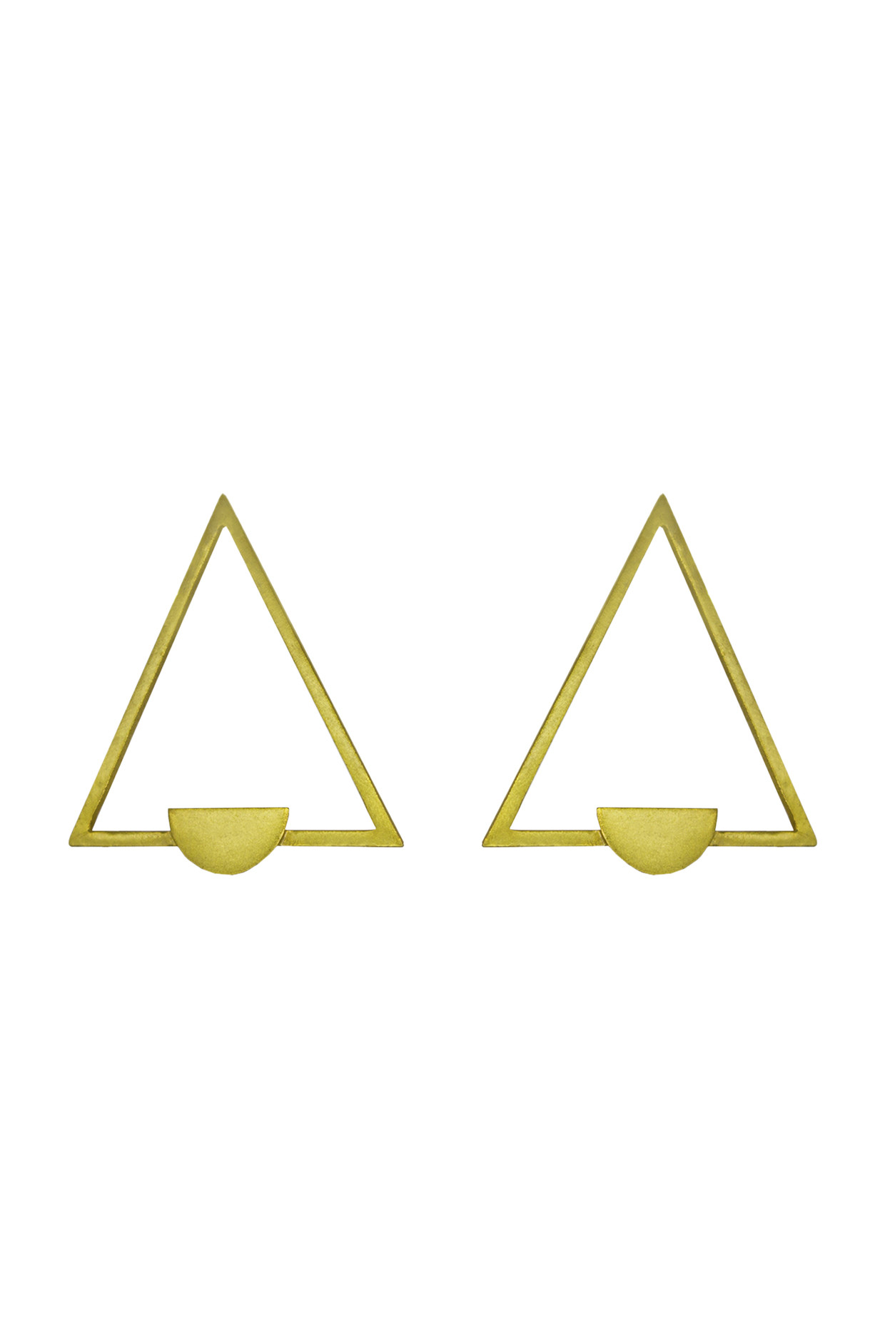 Handcrafted Brass Triangular Earrings In Gold by Toorya