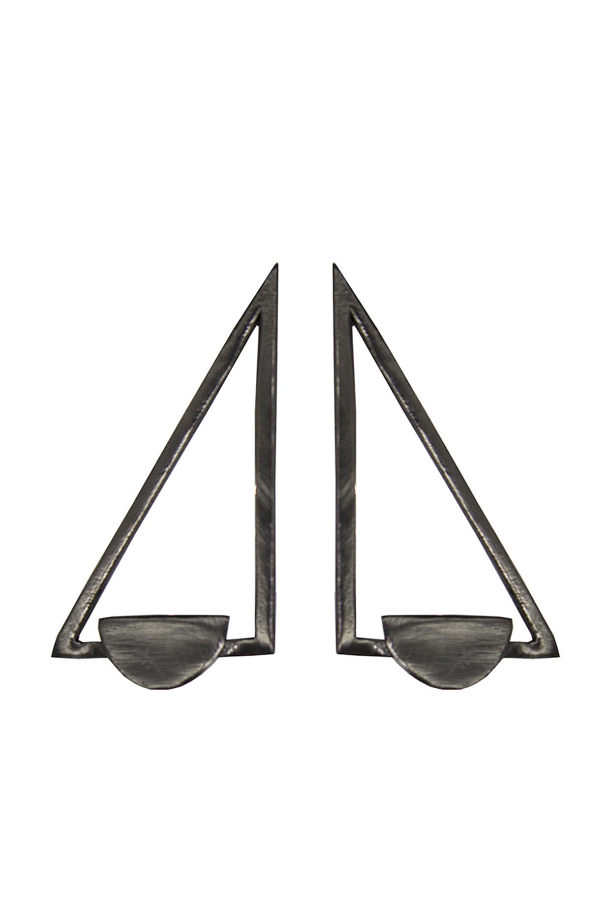 Handcrafted Brass Triangle Earrings In Black by Toorya