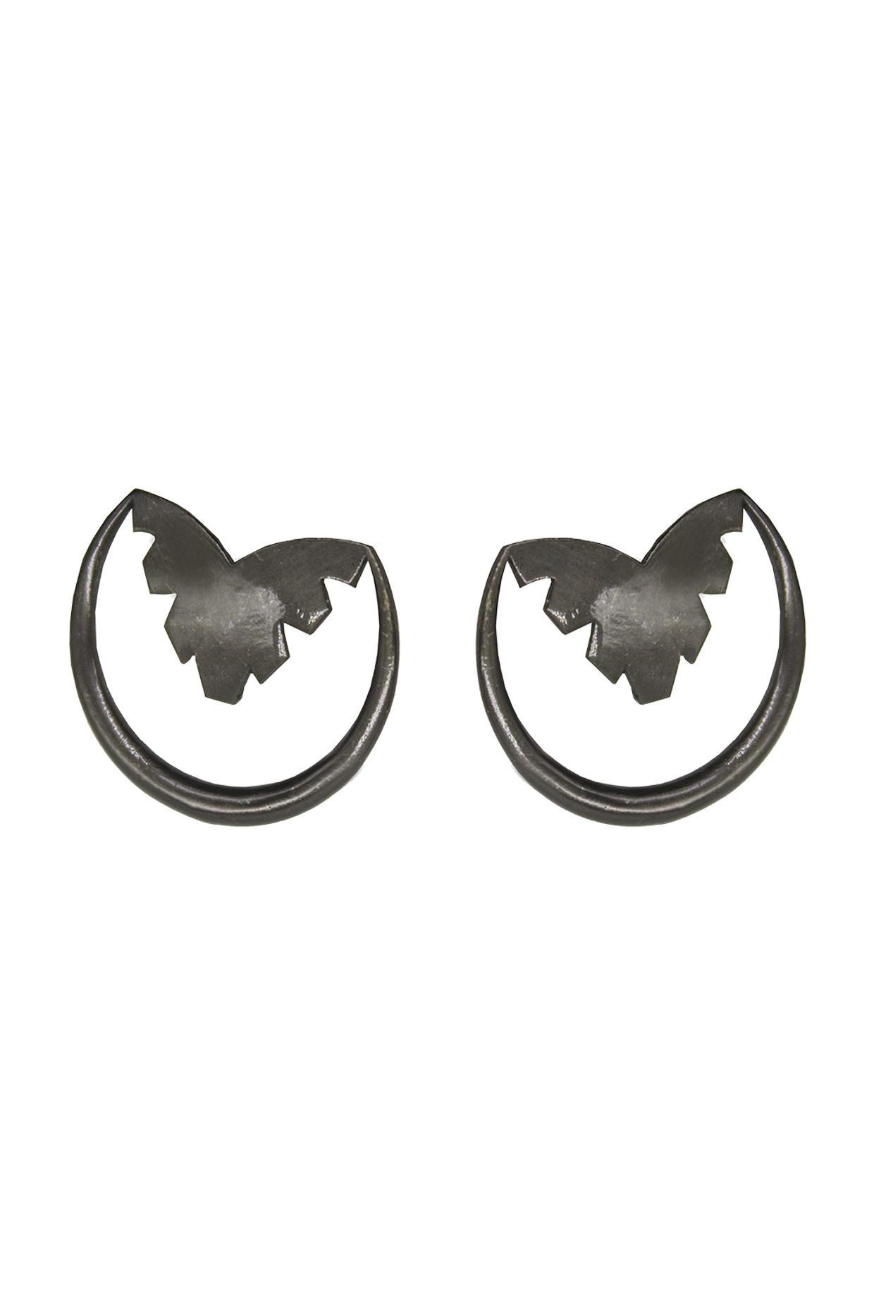 Handcrafted Brass Semi Circle Earrings In Black by Toorya