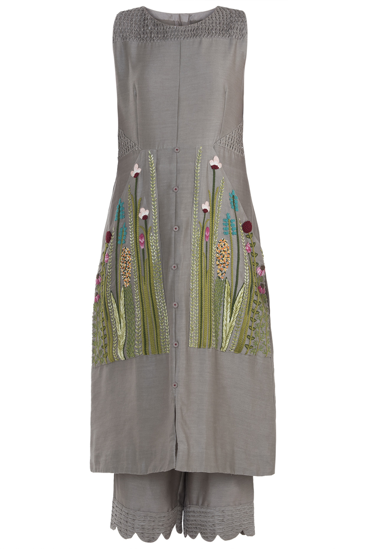 Taupe Embroidered Kurta with Pants by The Right Cut